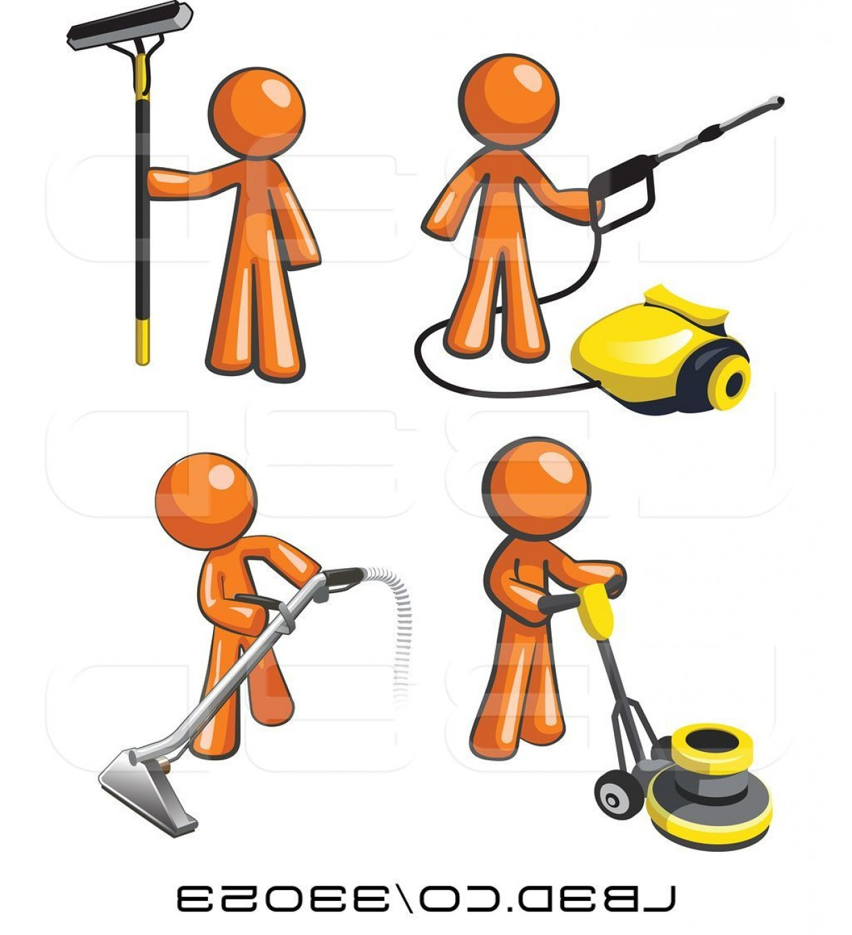 Janitorial Vector: Vector Illustration Of Orange Janitor Men Operating A Pressure Washer Floor Buffer Window And Carpet Cleaner By Leo Blanchette