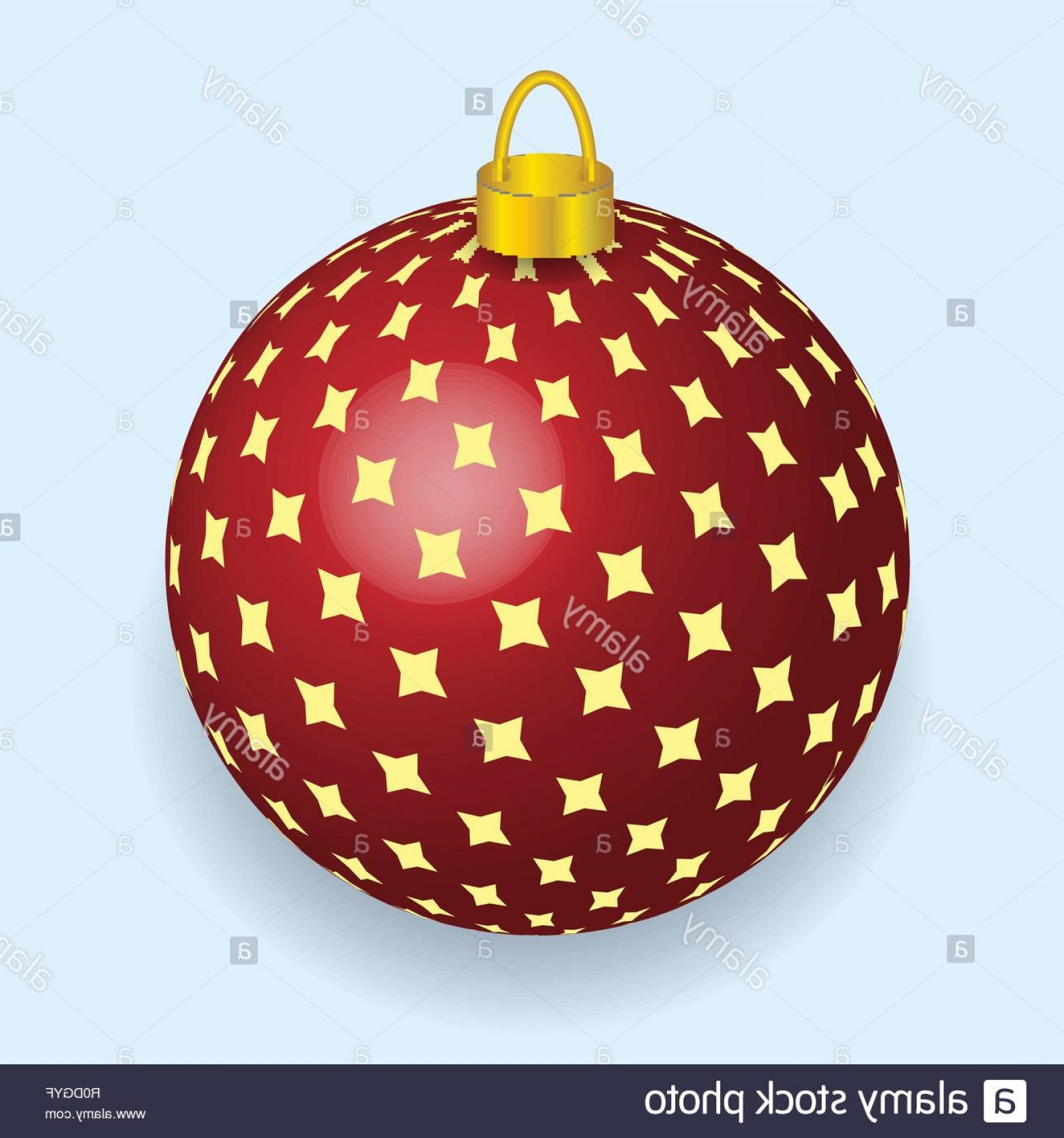Stars Yellow Christmas Vector: Vector Illustration Of Red With Yellow Stars Christmas Ball Reflecting Light New Year Lights Image