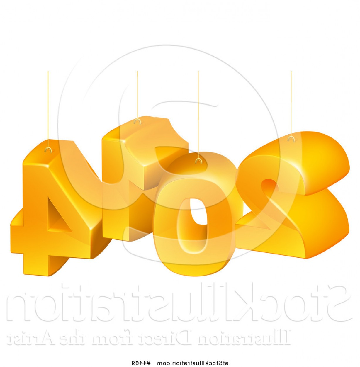 Vector 3D 2014: Vector Illustration Of Suspended Orange D New Year Numbers By Atstockillustration