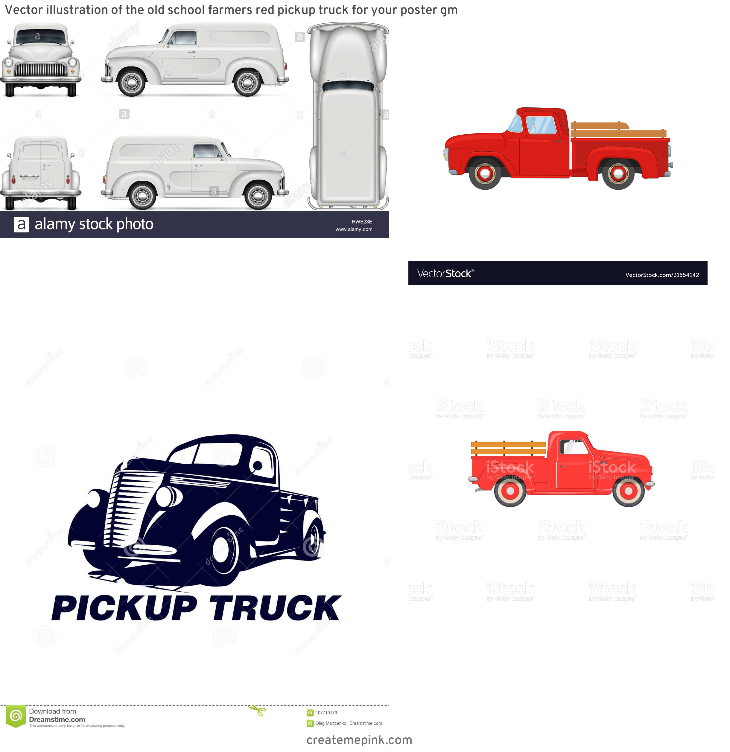 Old Truck Vector: Vector Illustration Of The Old School Farmers Red Pickup Truck For Your Poster Gm