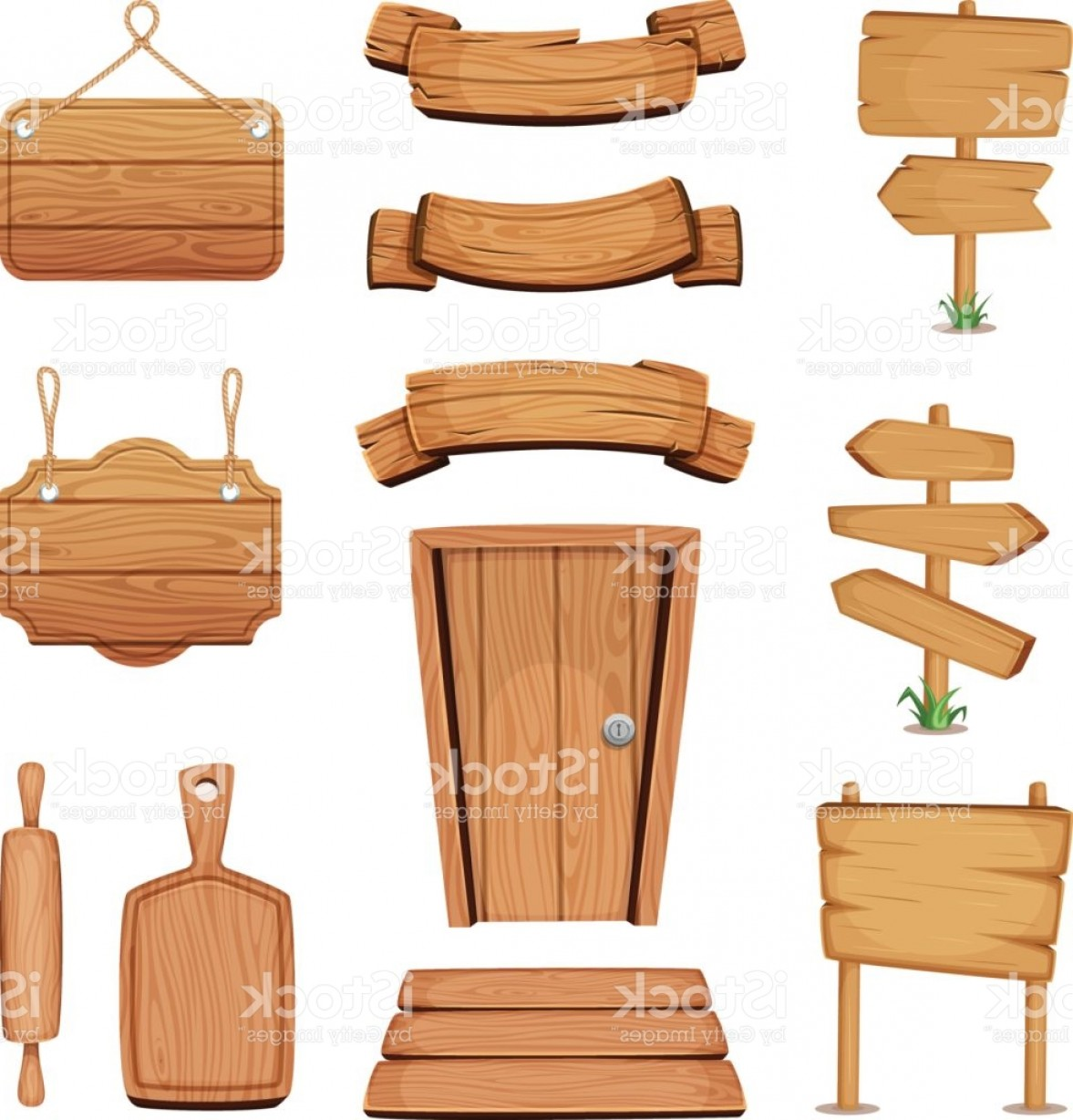Sign Shapes Vector Art: Vector Illustration Of Wooden Signboards Doors Plates And Other Different Shapes Gm