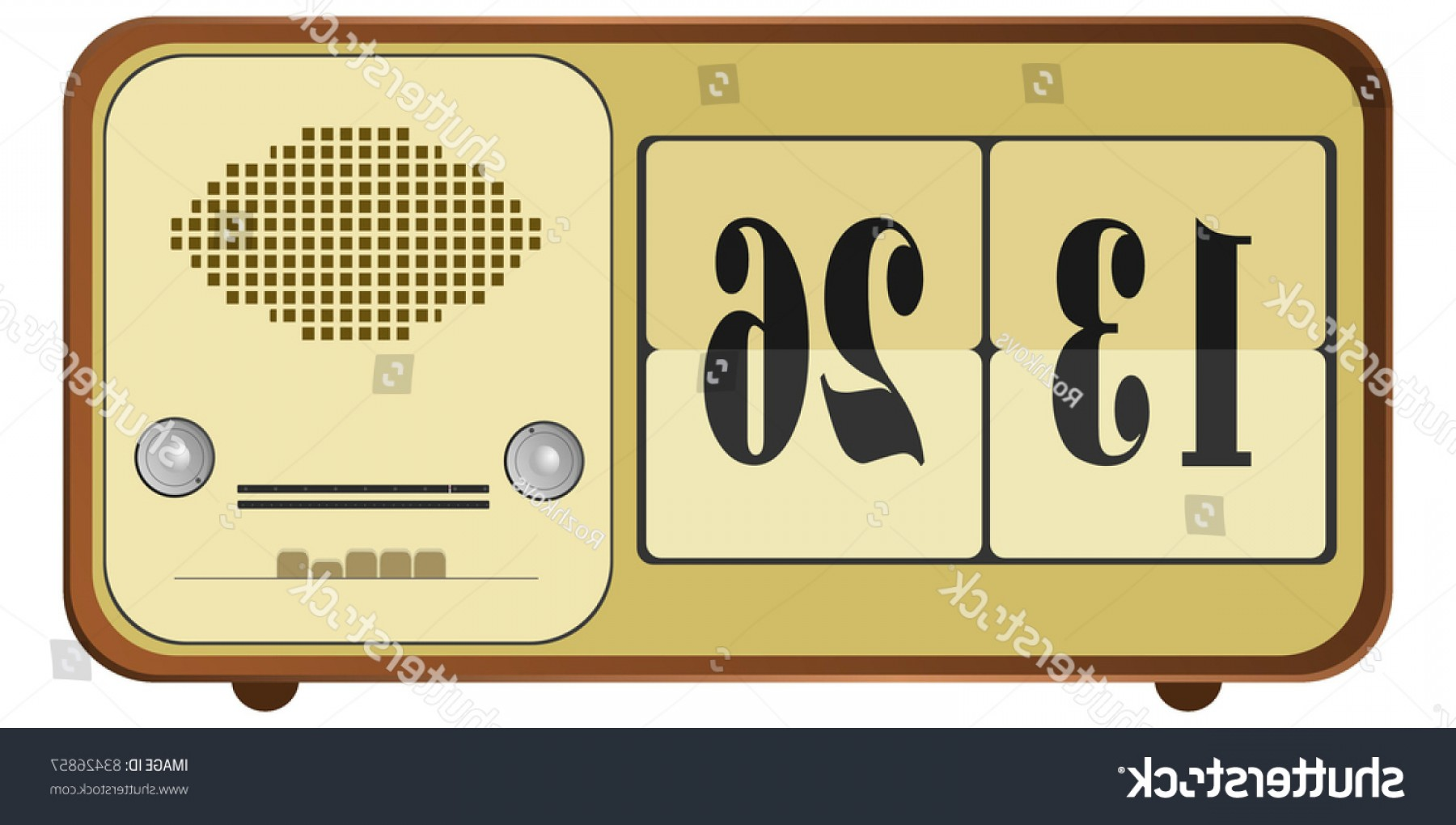 Old Floor Clock Vector: Vector Illustration Old Clock Radio