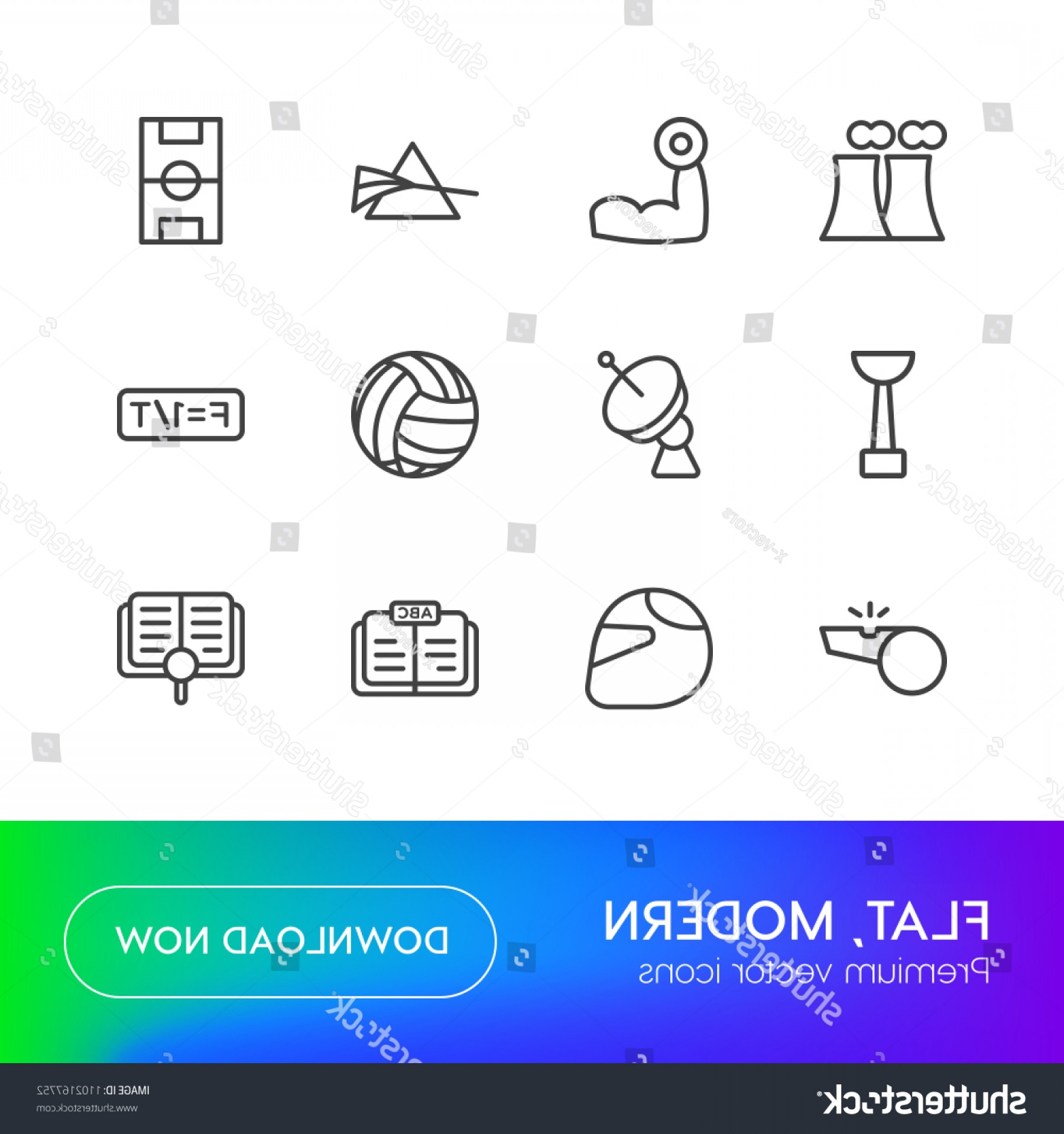 Abstract Football Vector Outline: Vector Illustration Outline Icons Science Sports