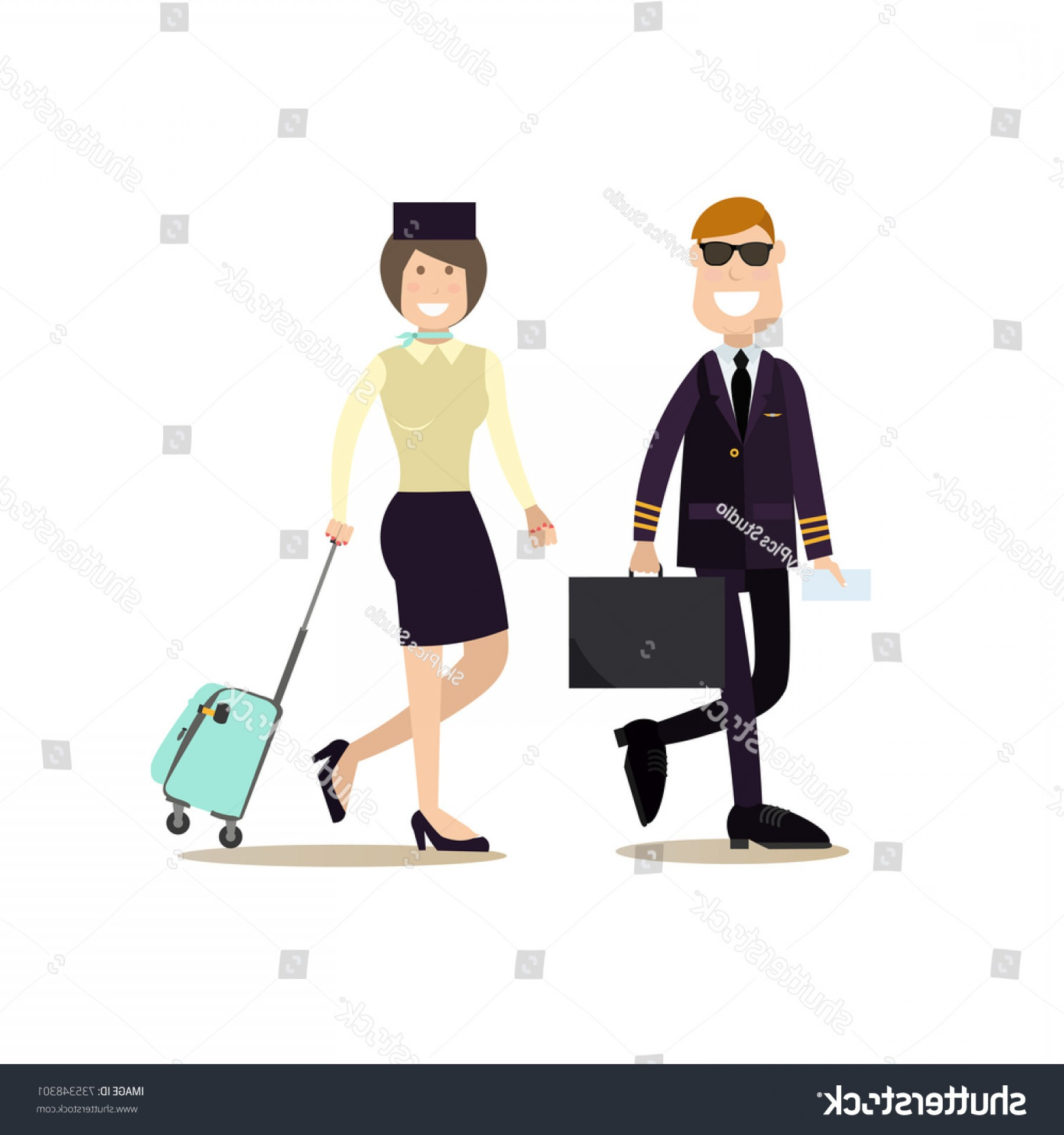 Vector Man Working In Cabin: Vector Illustration Pilot Stewardess Luggage Airline