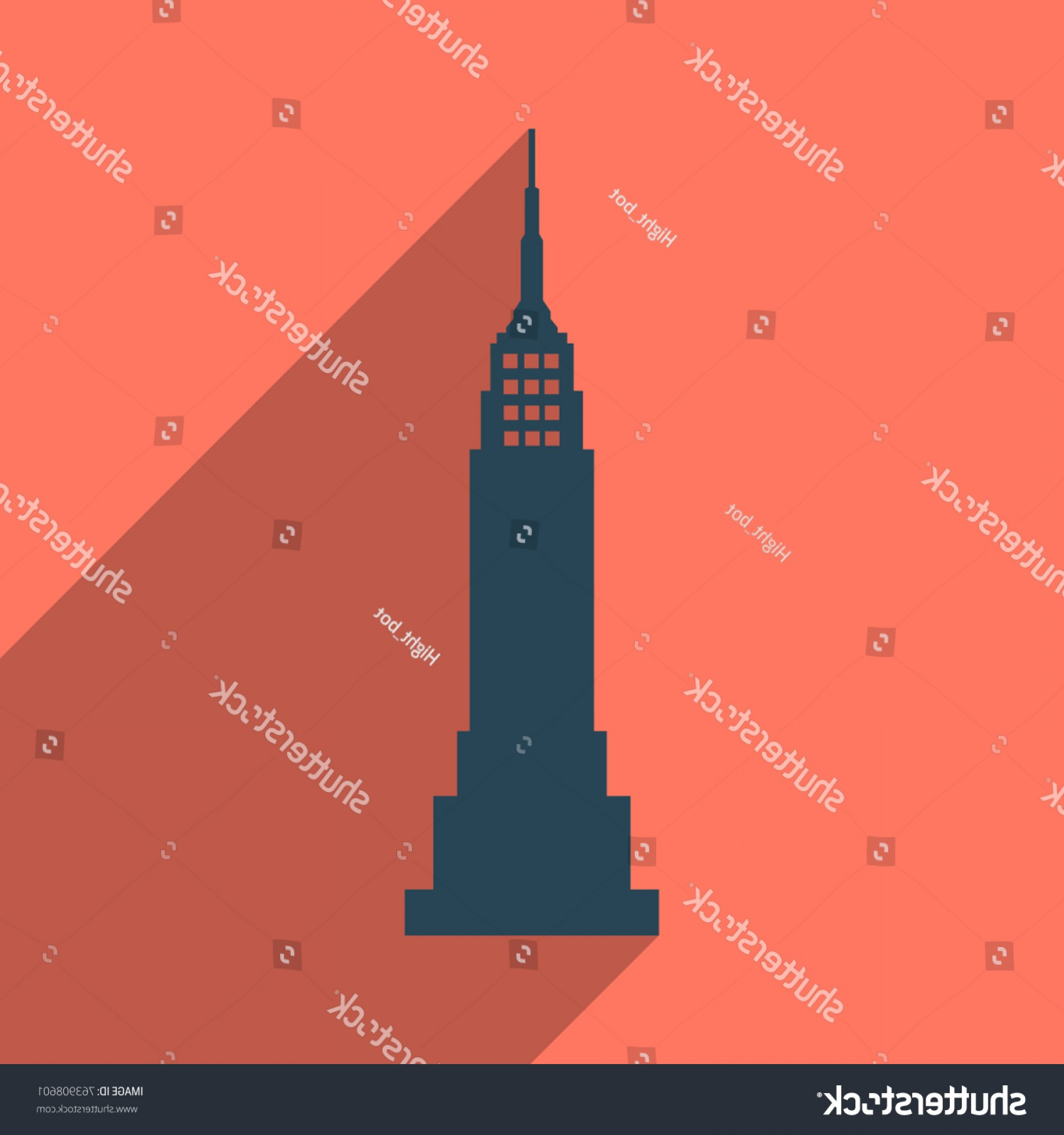 Empire State Vector: Vector Illustration Posterempire State Building Highrise