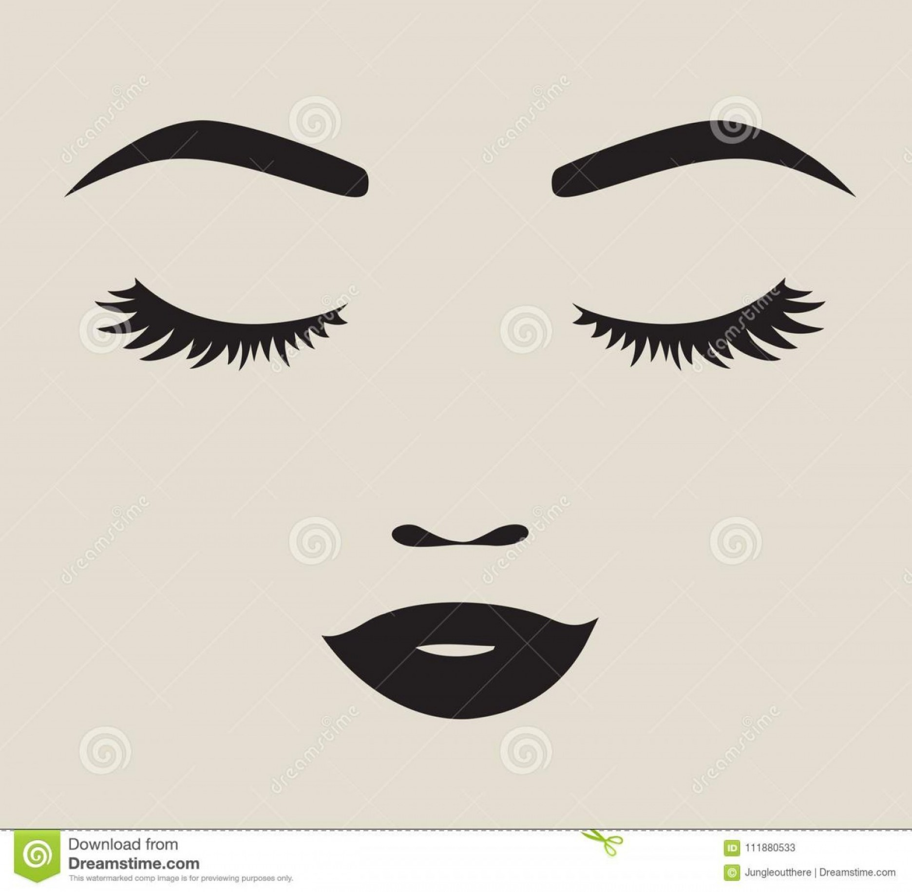 Woman Silhouette Vector Face Expression: Vector Illustration Pretty Woman Face Silhouette Eyelashes Eyebrows Lips Pretty Woman Face Silhouette Vector Image