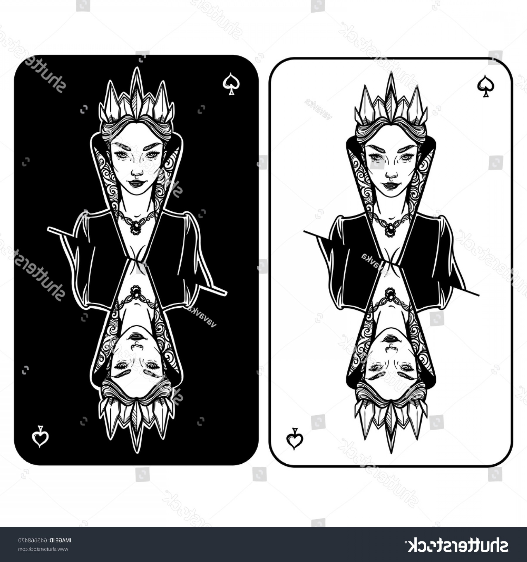 Spades Vector Art: Vector Illustration Queen Spades Cardinal Evil