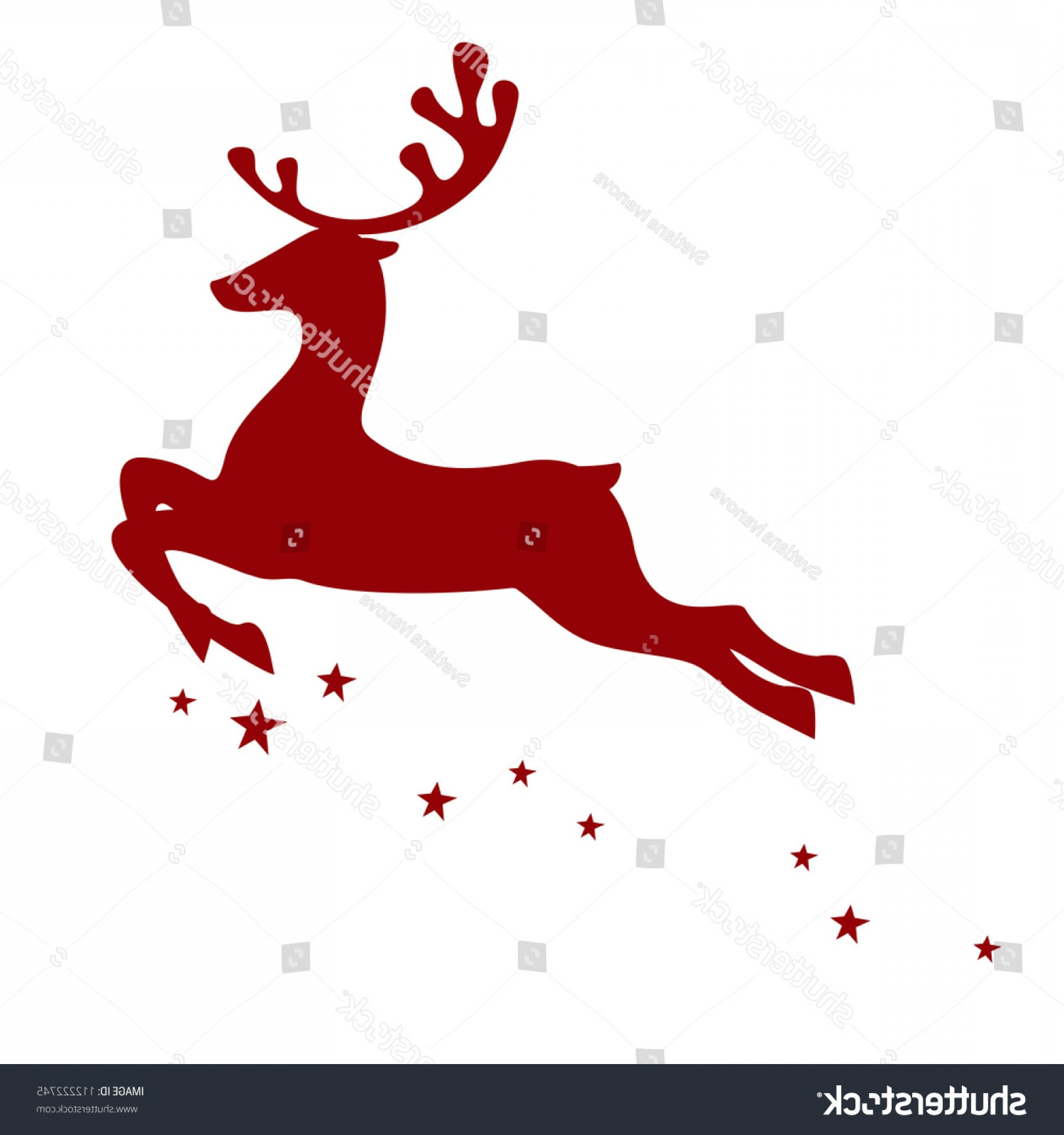 Kissing Reindeer Silhouette Vector: Vector Illustration Red Reindeer Isolated On