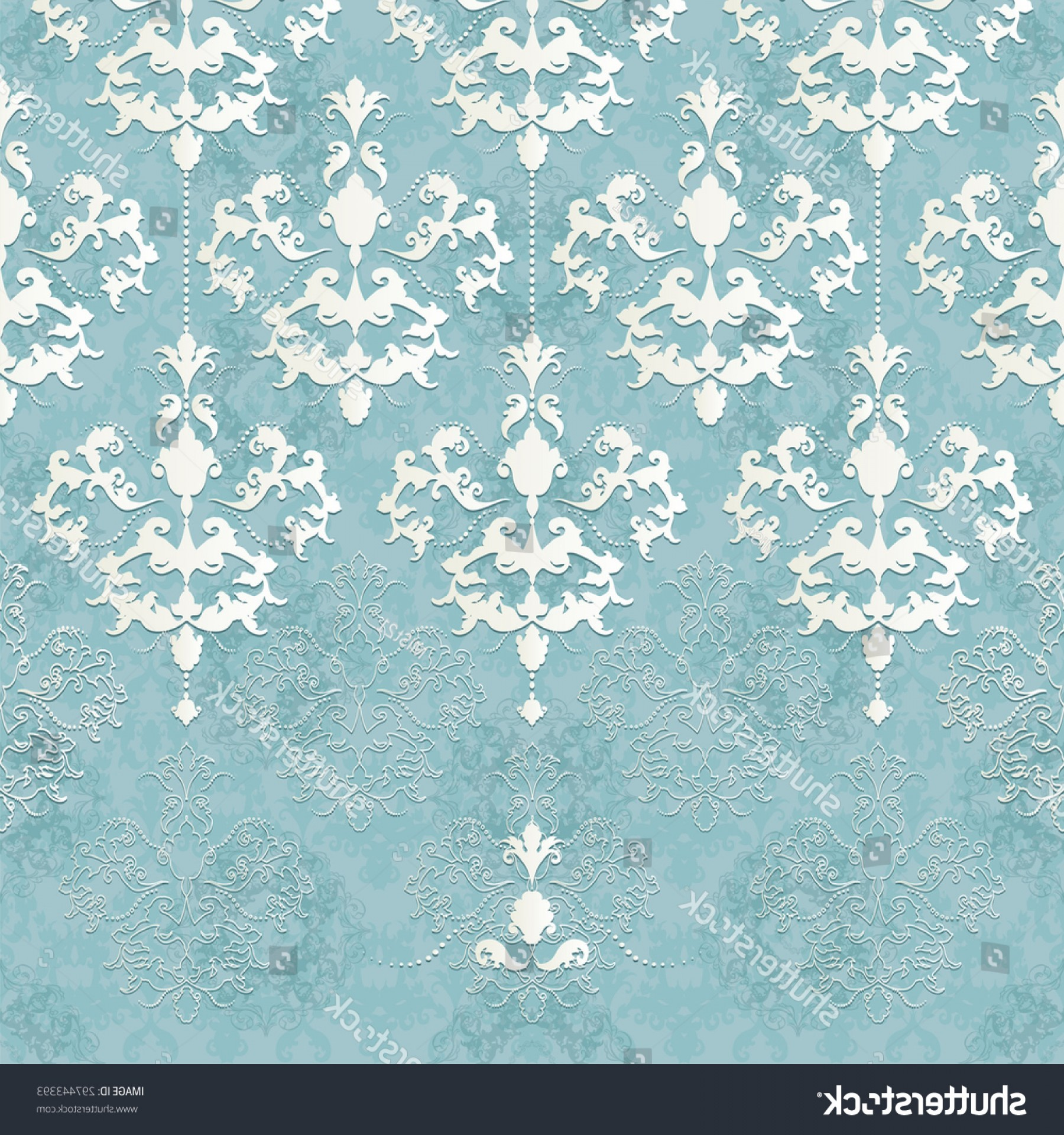 Aqua Victorian Vectors: Vector Illustration Seamless Lace Pattern Baroque