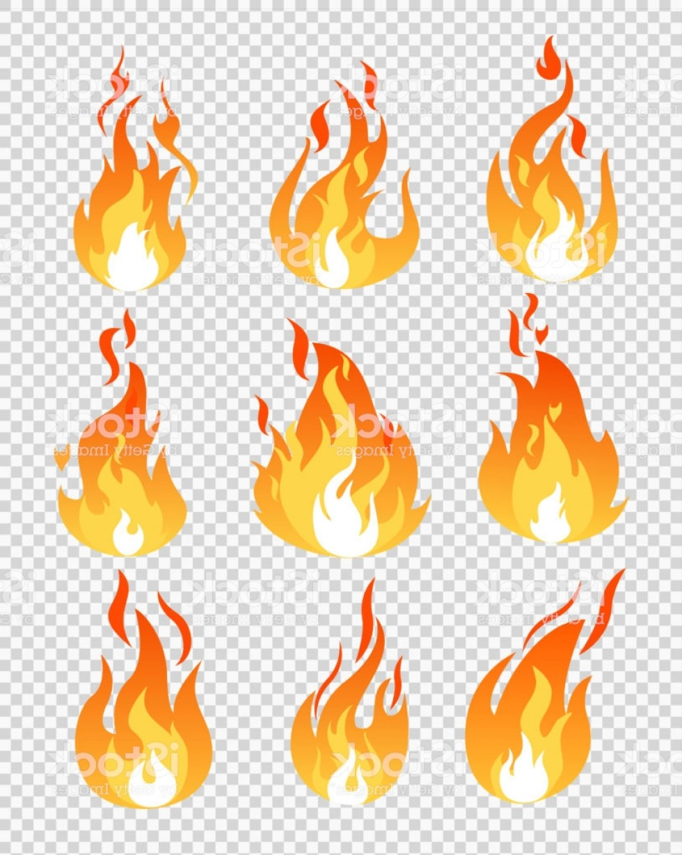 Cartoon Fire Flames Vector: Vector Illustration Set Of Fire Flames Icons Different Shapes On The Transparent Gm