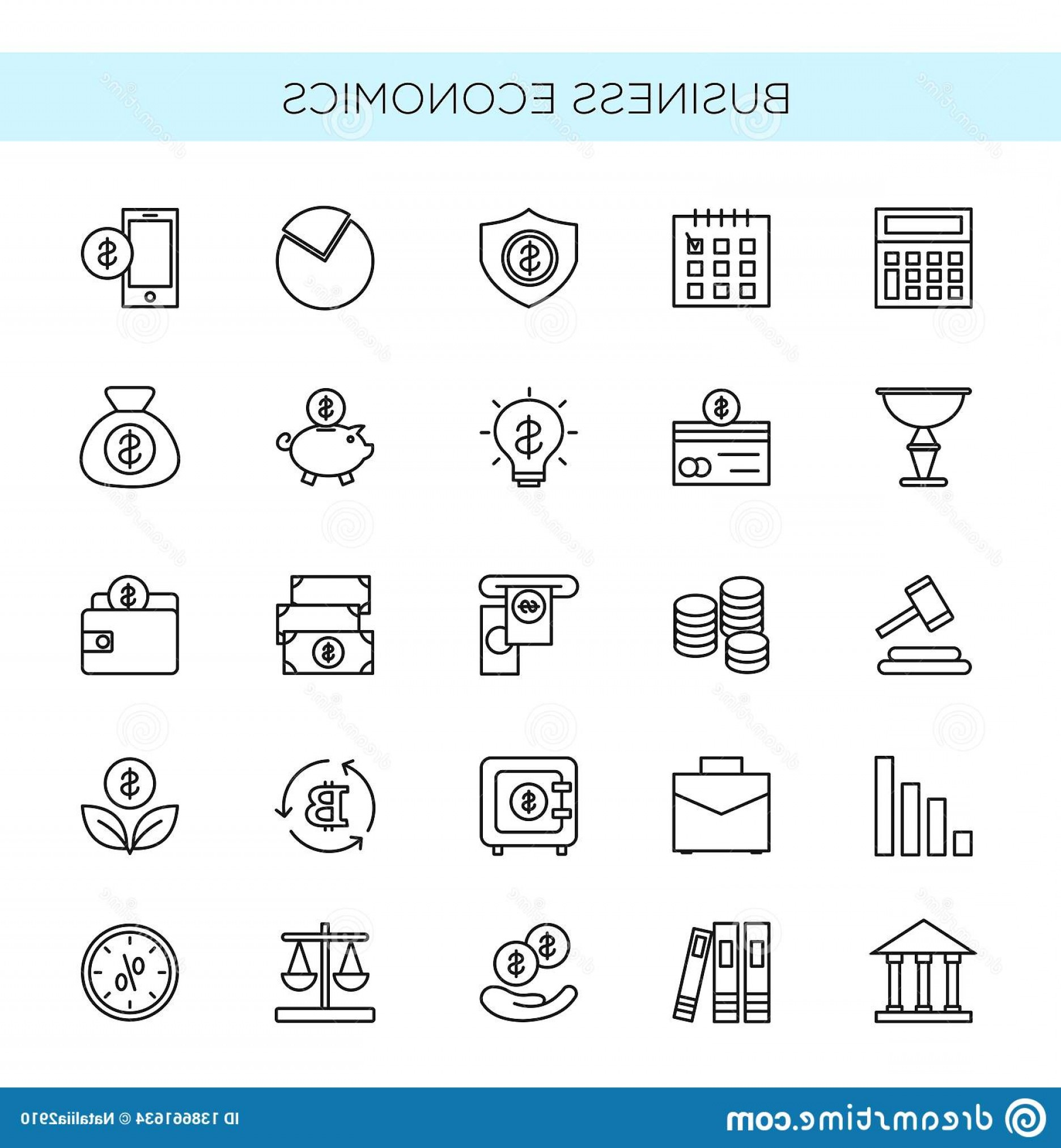 Vector Economics: Vector Illustration Set Thin Line Icons Business Economics Banking Money Trading Objects Elements Collection Image