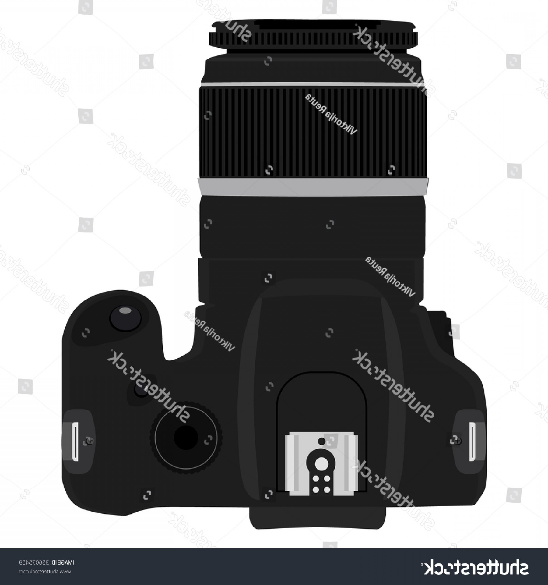 SLR Camera Vector: Vector Illustration Slr Camera Top View