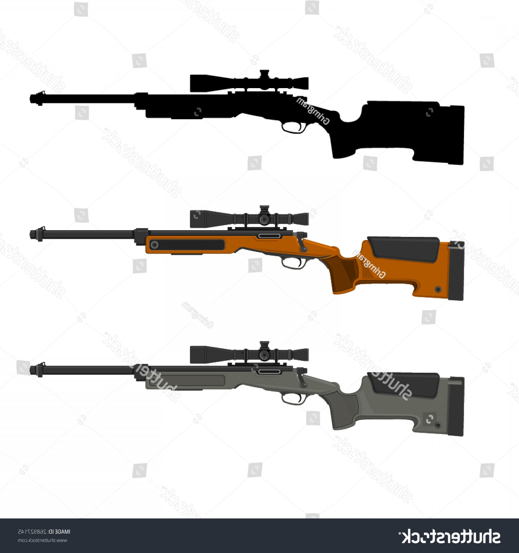 Hunting Rifle Vector Cross: Vector Illustration Sniper Rifle Telescopic Sight