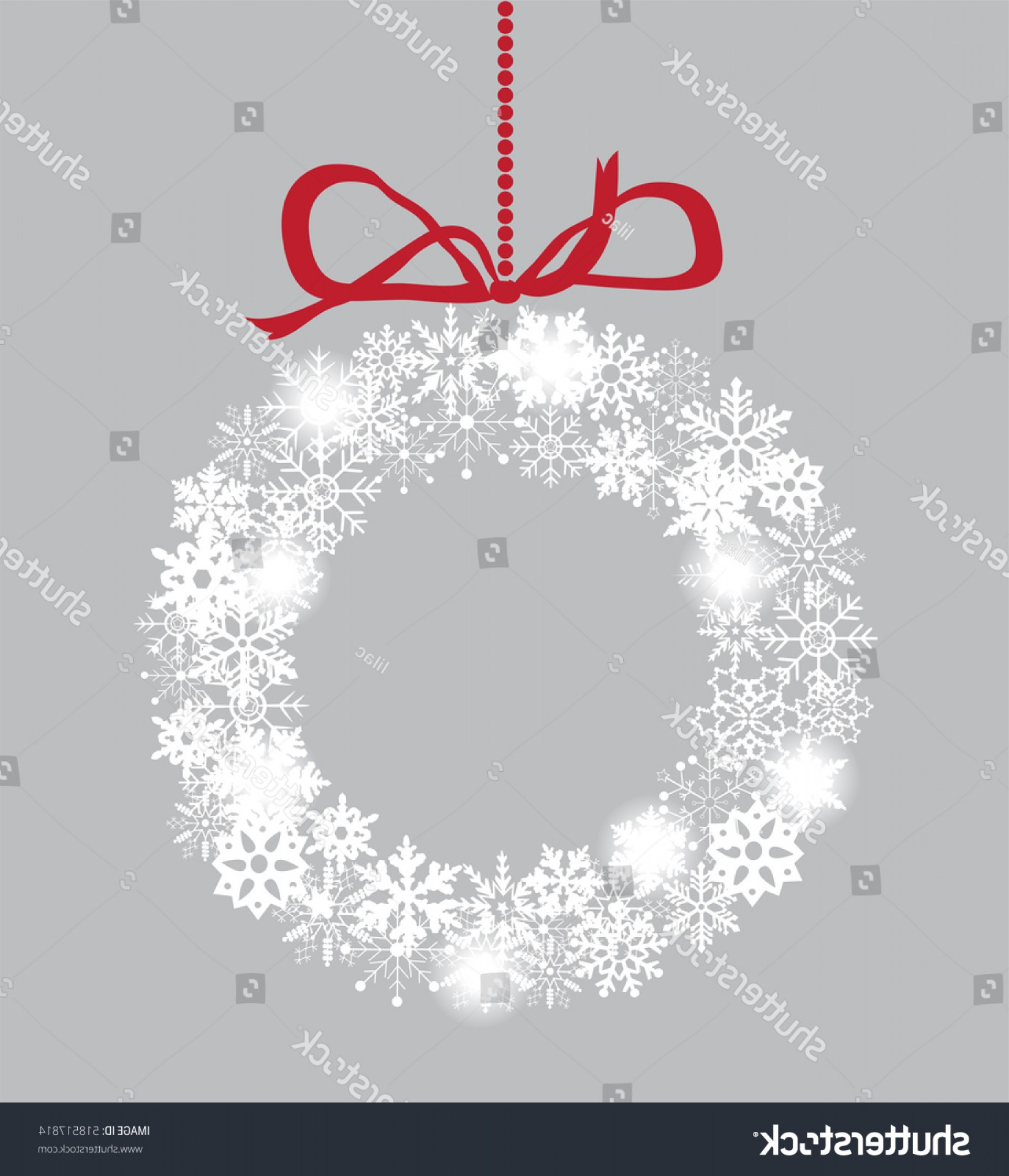 Vector Snowflake Wreath: Vector Illustration Snowflake Christmas Wreath Red