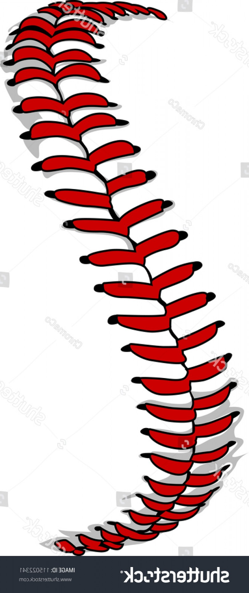Softball Laces Vector Art B W: Vector Illustration Softball Laces Baseball