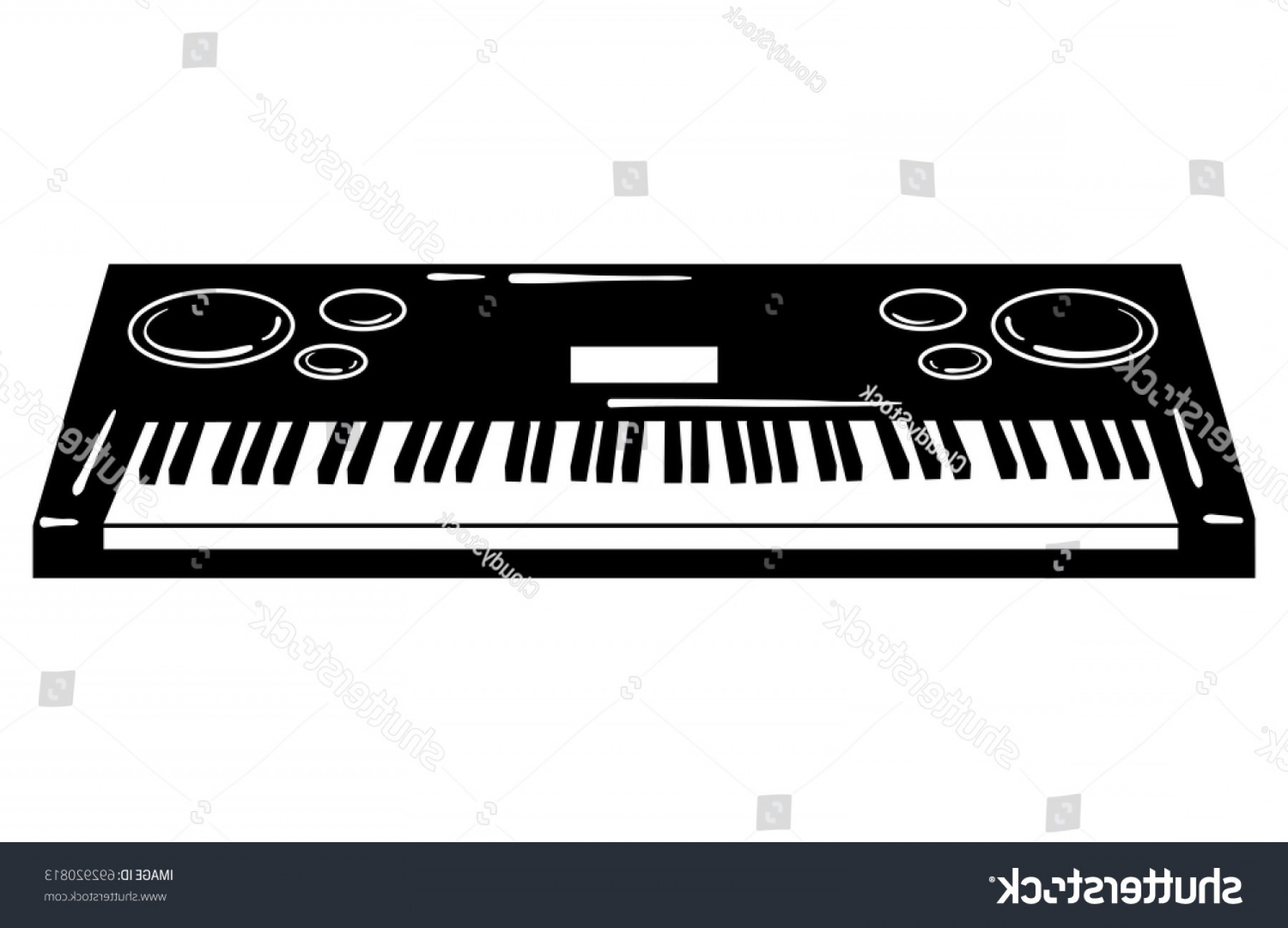Musical Keyboard Vector: Vector Illustration Synthesizer Keyboard Musical Instrument