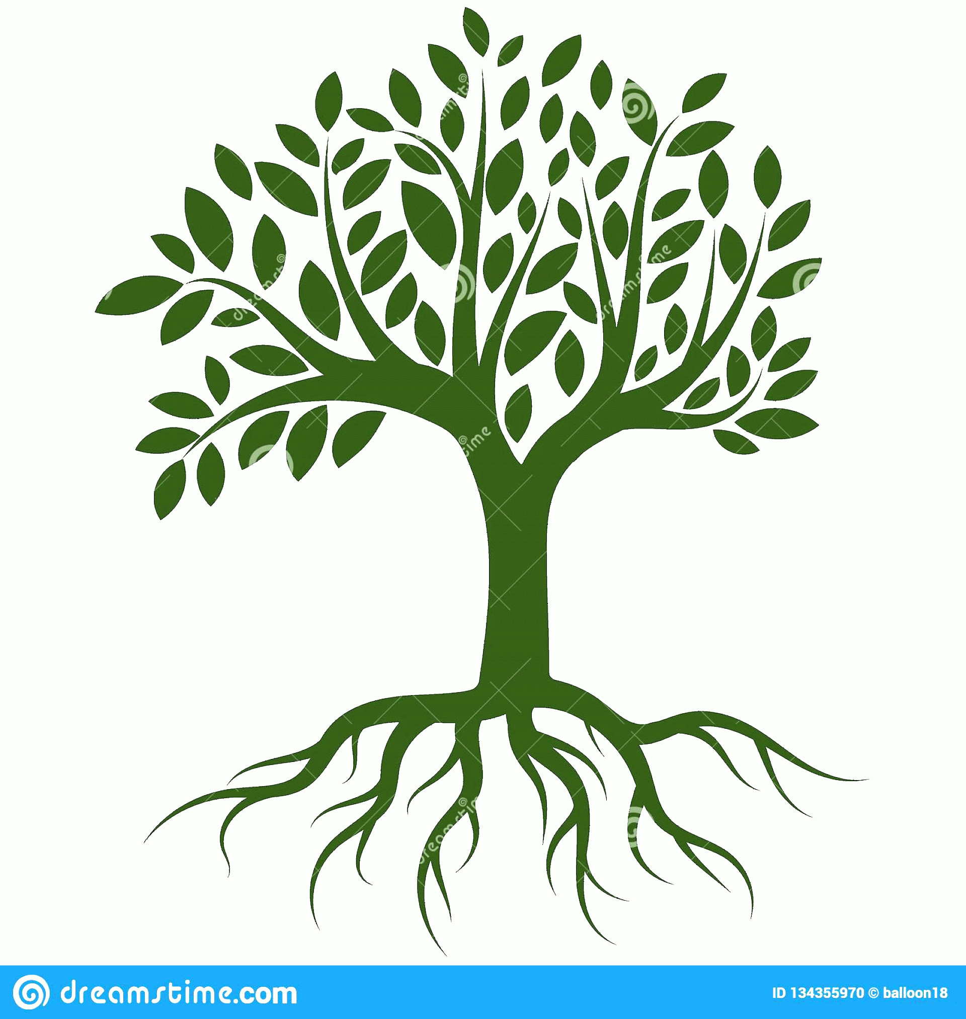 Vector Tree With Roots Drawing: Vector Illustration Tree Roots Isolated White Background Editable Clip Art Drawing Tree Roots Logo Vector Image