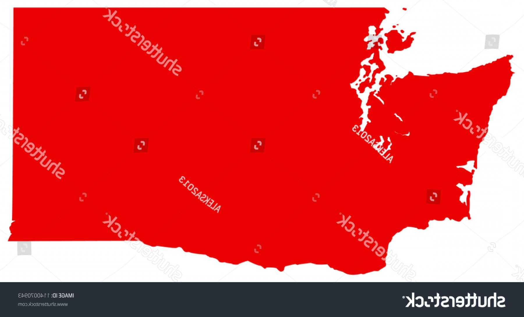 Washington State Map Vector: Vector Illustration Washington State Map