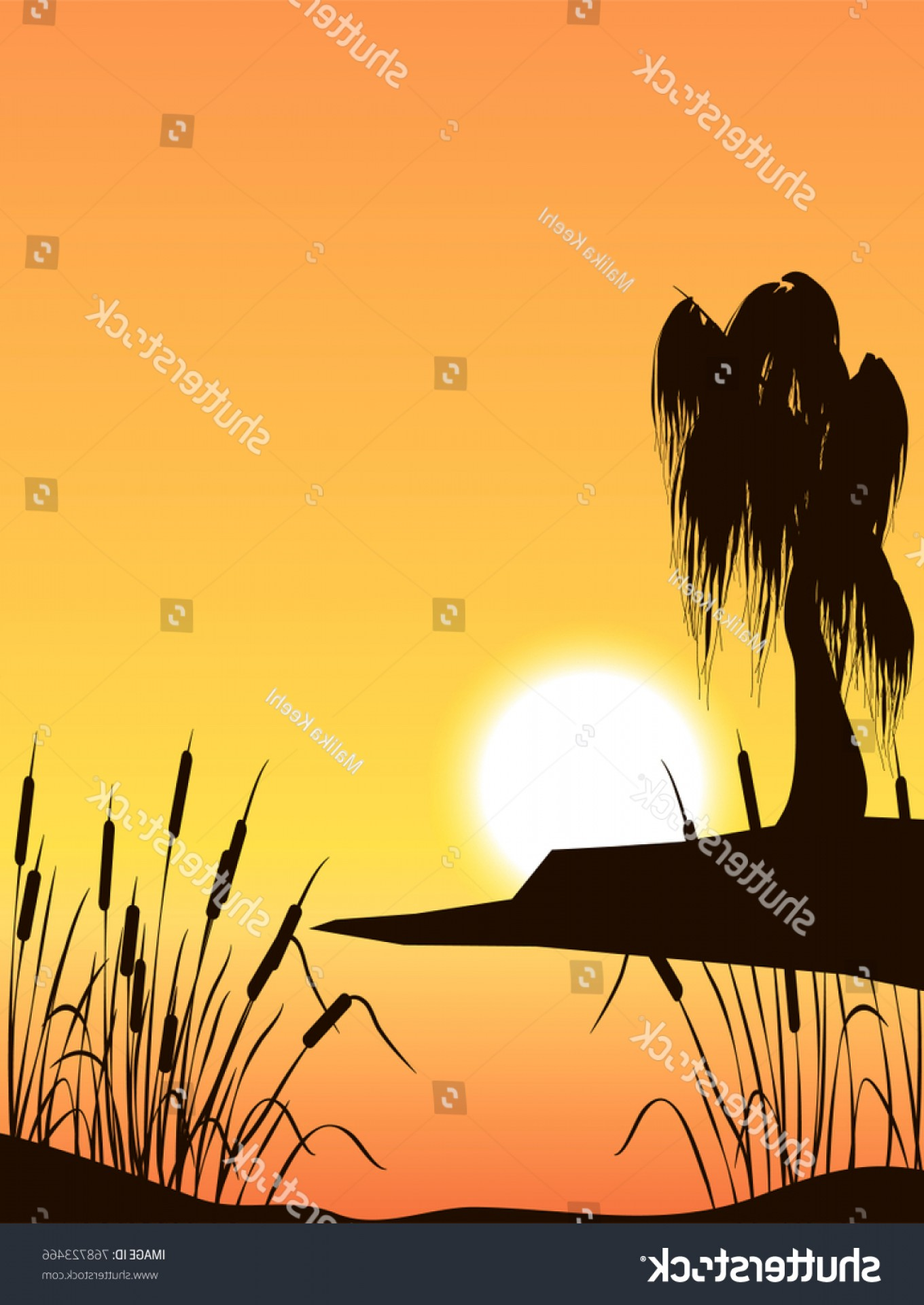 Vector Water Willow: Vector Illustration Willow Treesunset Over Backwater