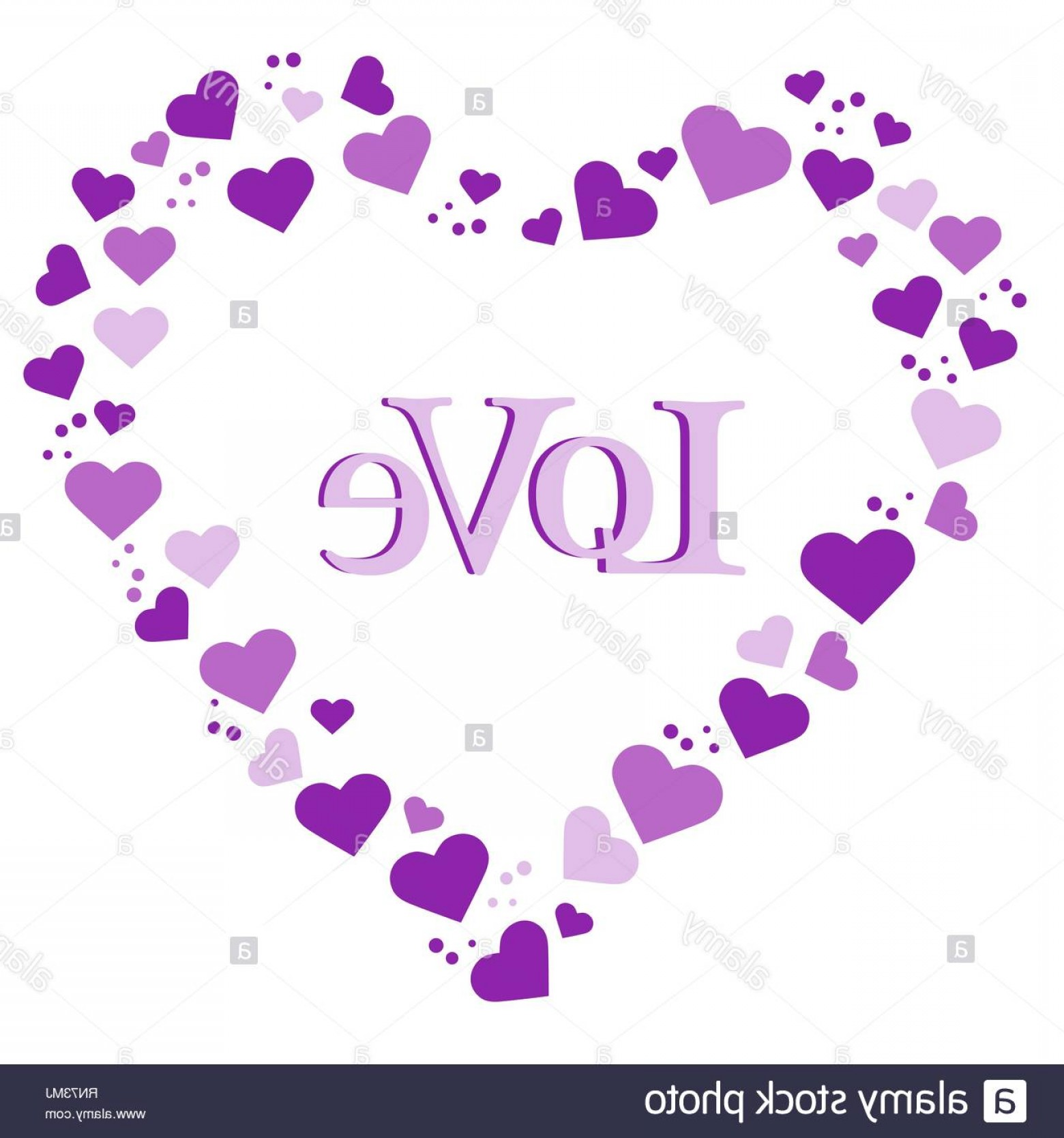 Love M J Vector: Vector Illustration With Heart Composed Of Many Hearts Inscription Love Design For Banner Poster Or Print Image