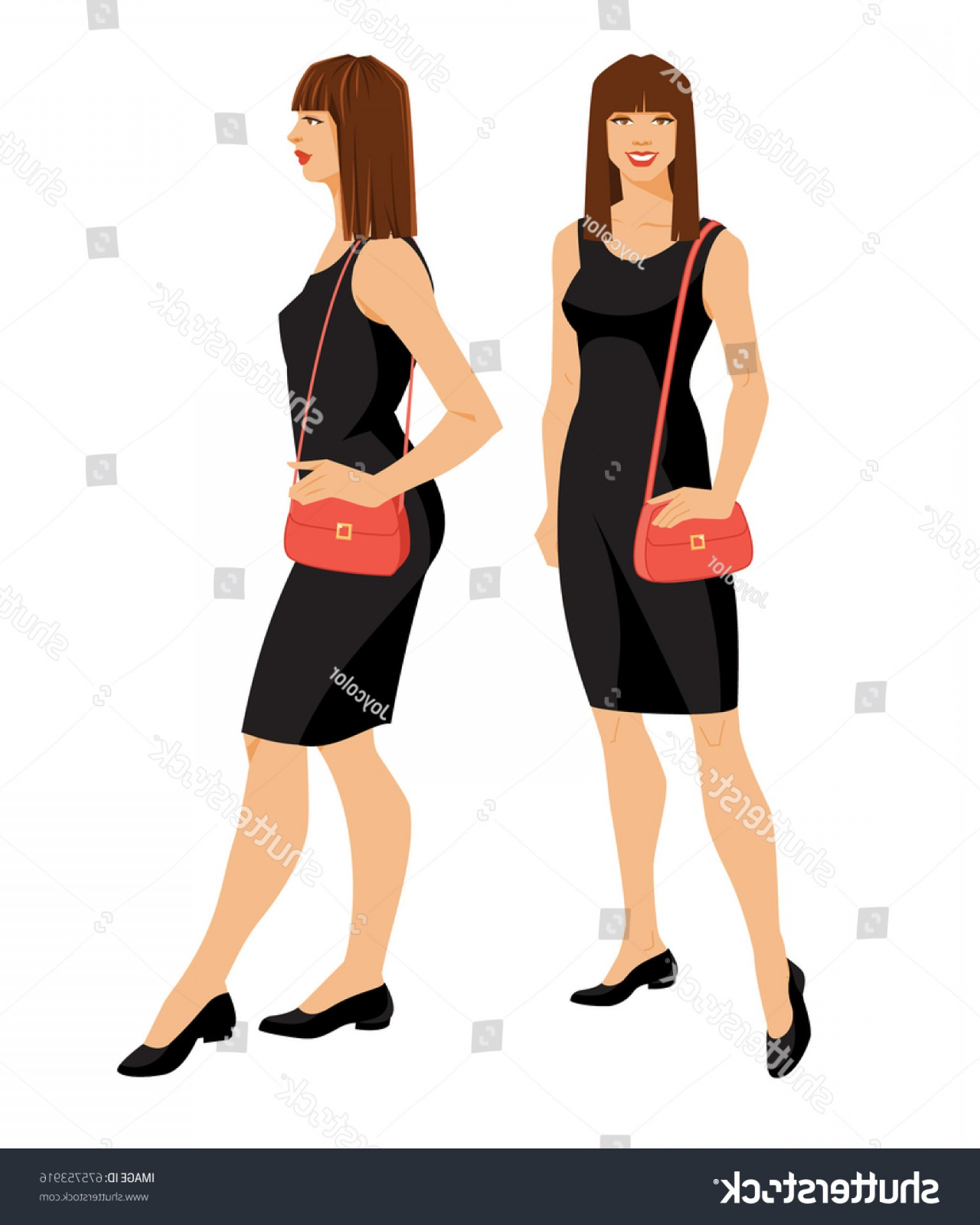 Vector Images Of Black And White Dresses: Vector Illustration Woman Black Dress Shoes