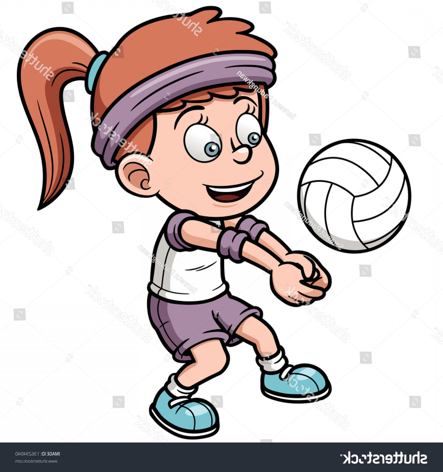 Volleyball Player Vector: Vector Illustration Young Volleyball Player