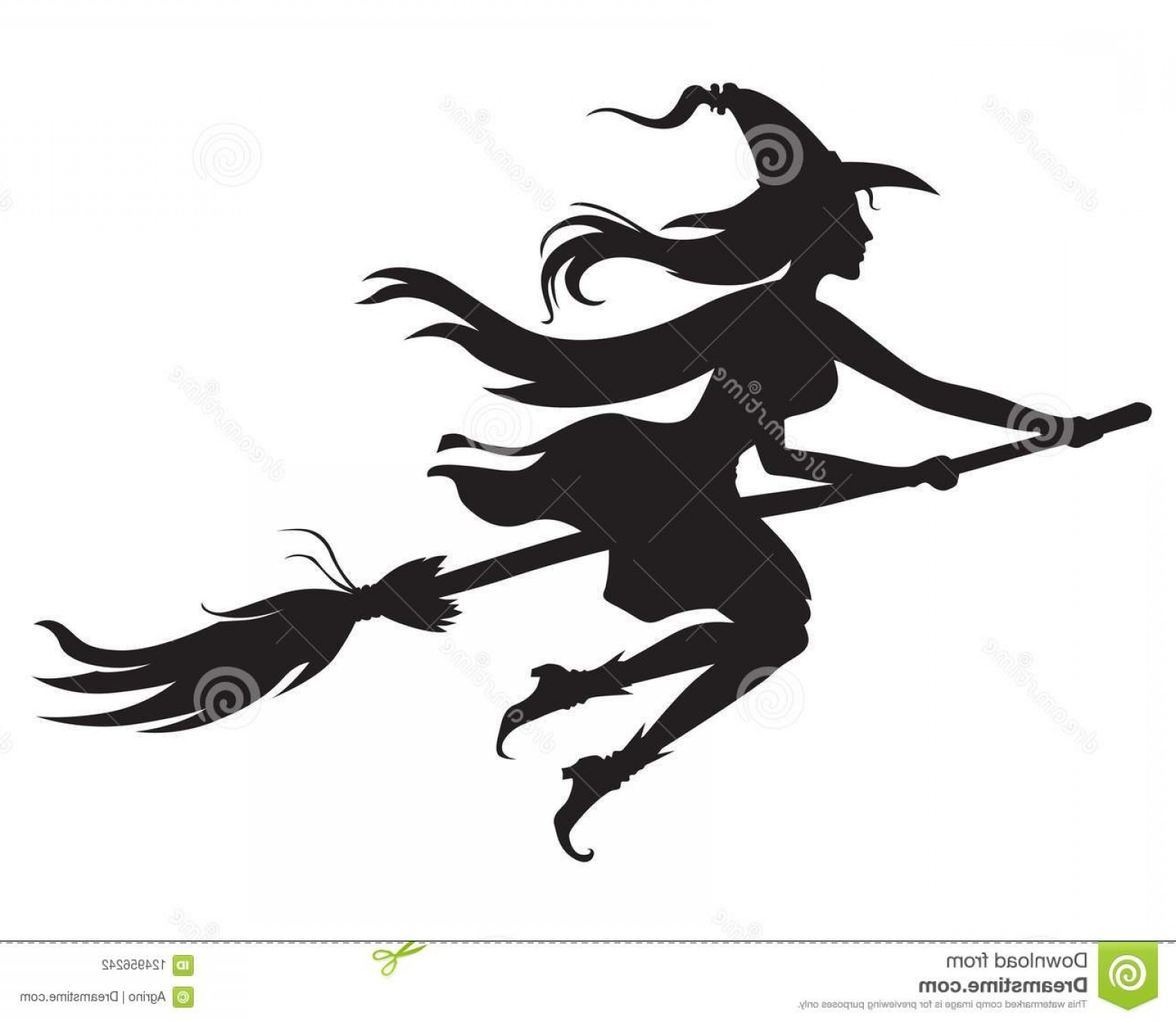 Witch Silhouette Vector: Vector Illustrations Halloween Silhouette Witch Hat Broom Fly Halloween Witch Silhouette Image