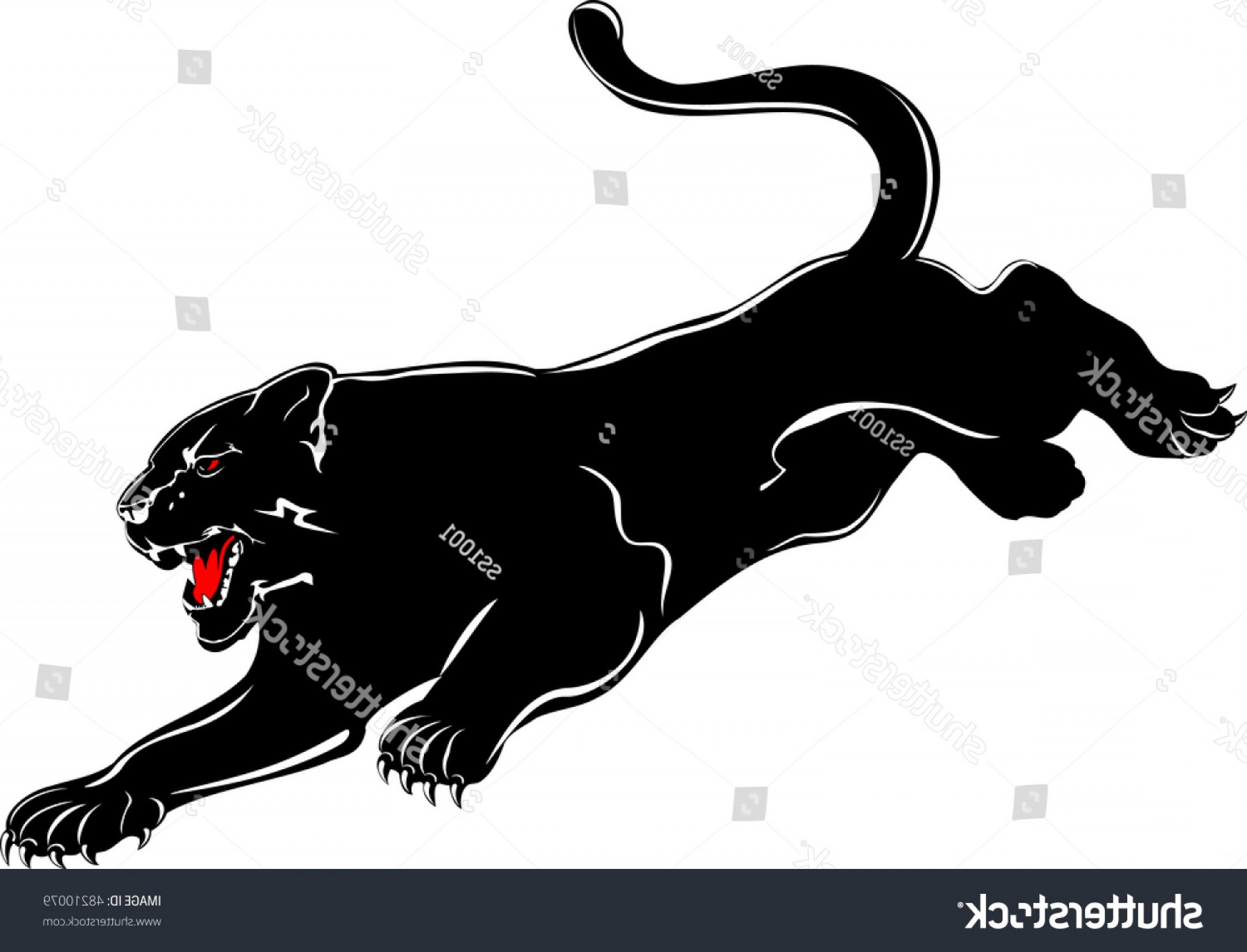 Panther Silhouette Vector: Vector Image Attacking Black Panther