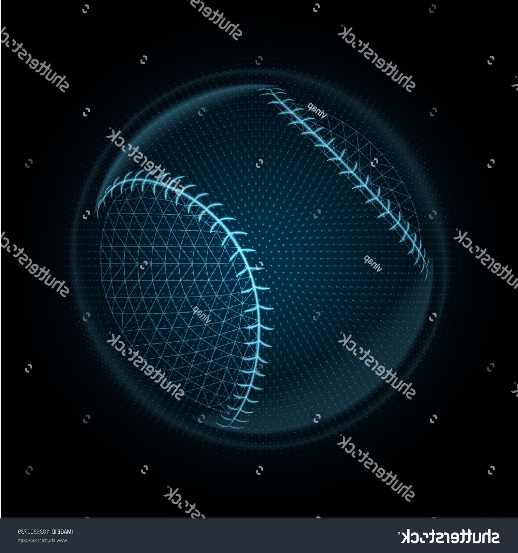 Neon Green Softball Stitches Vector: Vector Image Baseball Ball Made Illuminated