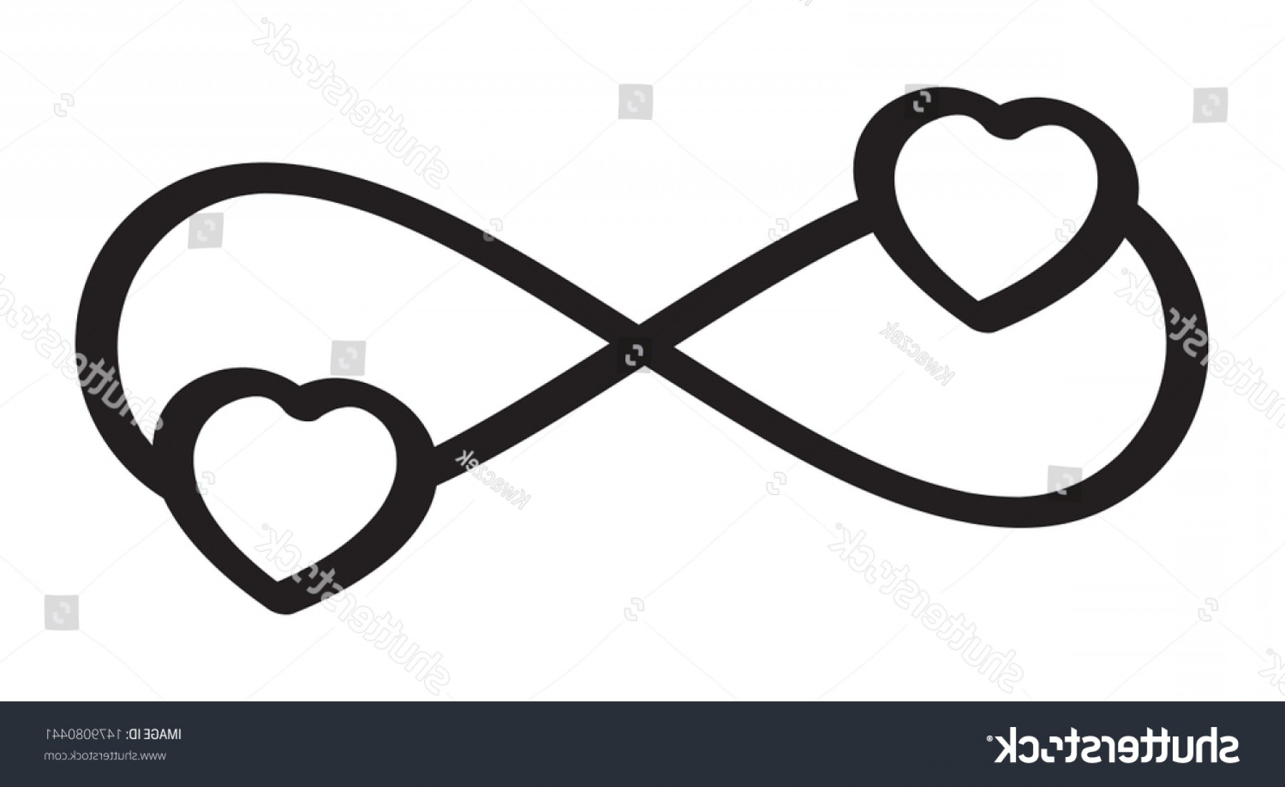 Vector Infinity Symbol Hearts: Vector Infinity Love Icon Tattoo Symbol