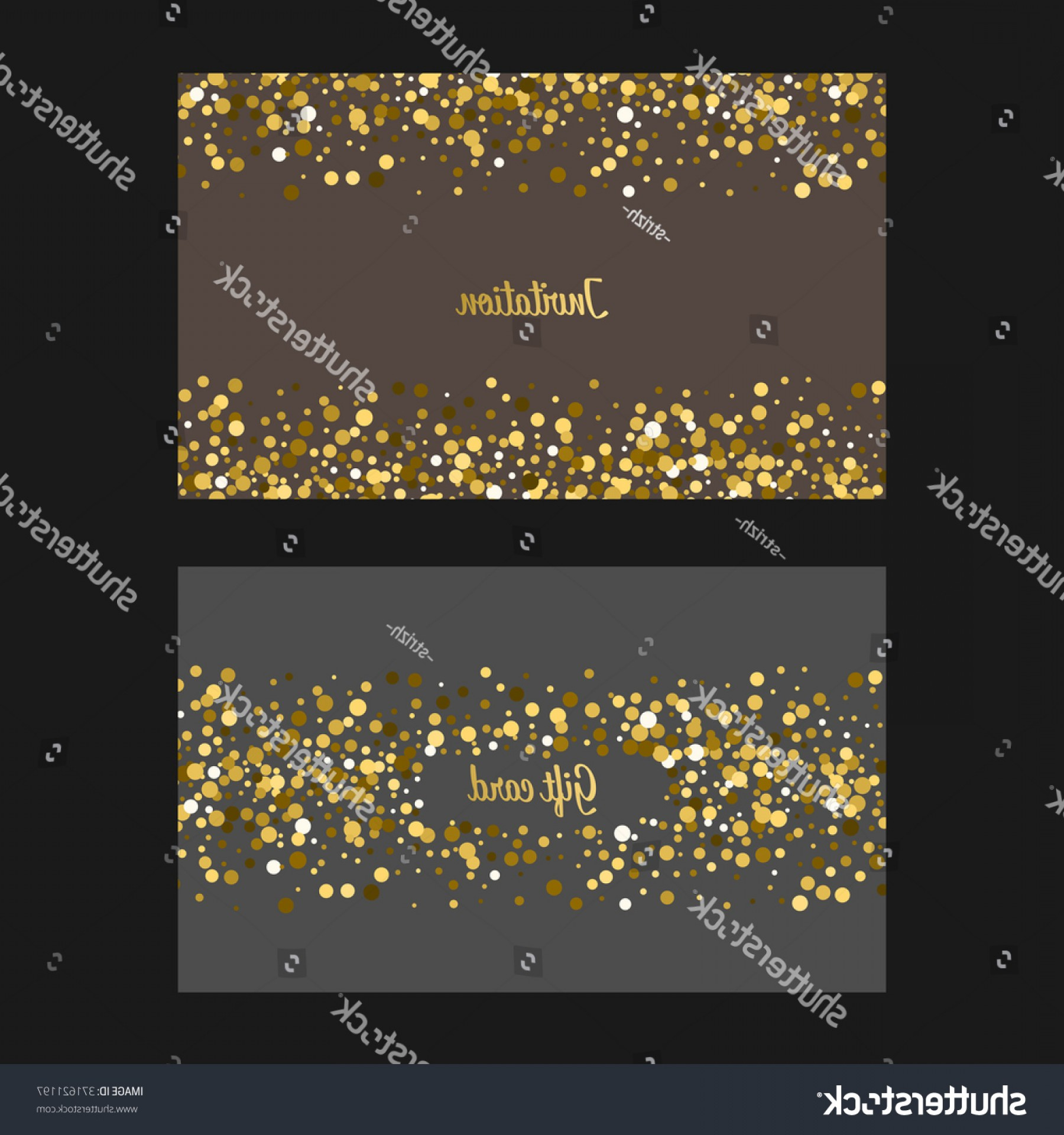 Invite Gold Dots Vector Glittter: Vector Invitation Gift Card Gold Dots