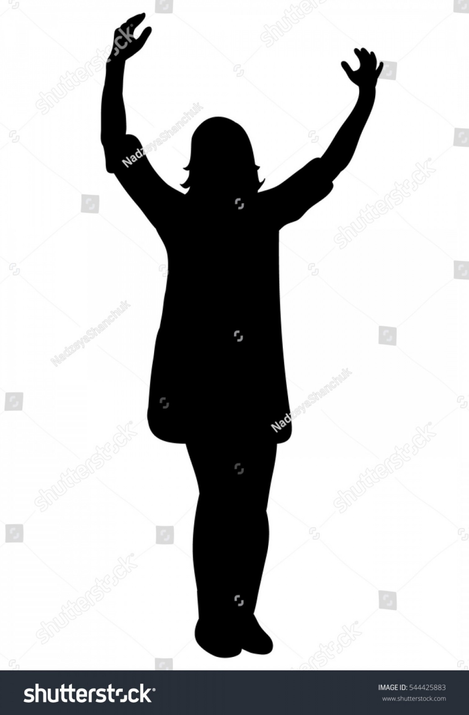 Holding Hands Up Silhouette Vector: Vector Isolated Silhouette Girl Holding Hands