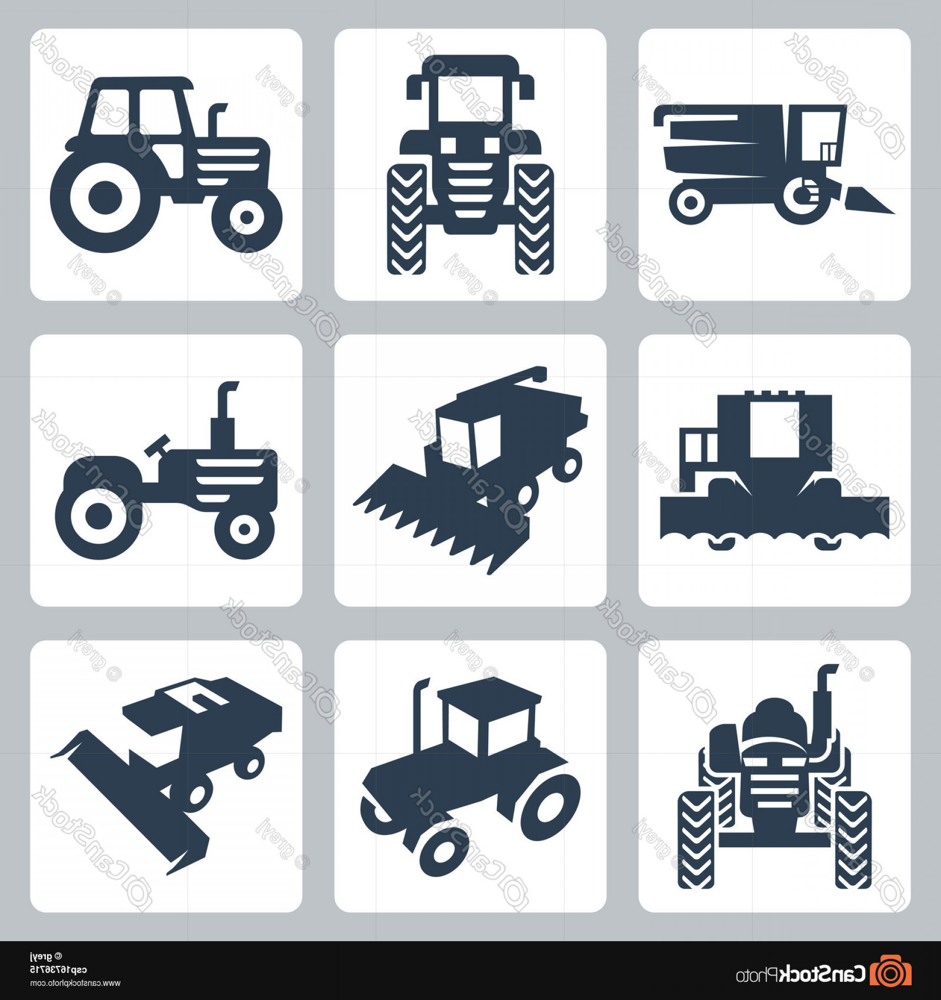 Free Tractor Vector: Vector Isolated Tractor And Combine