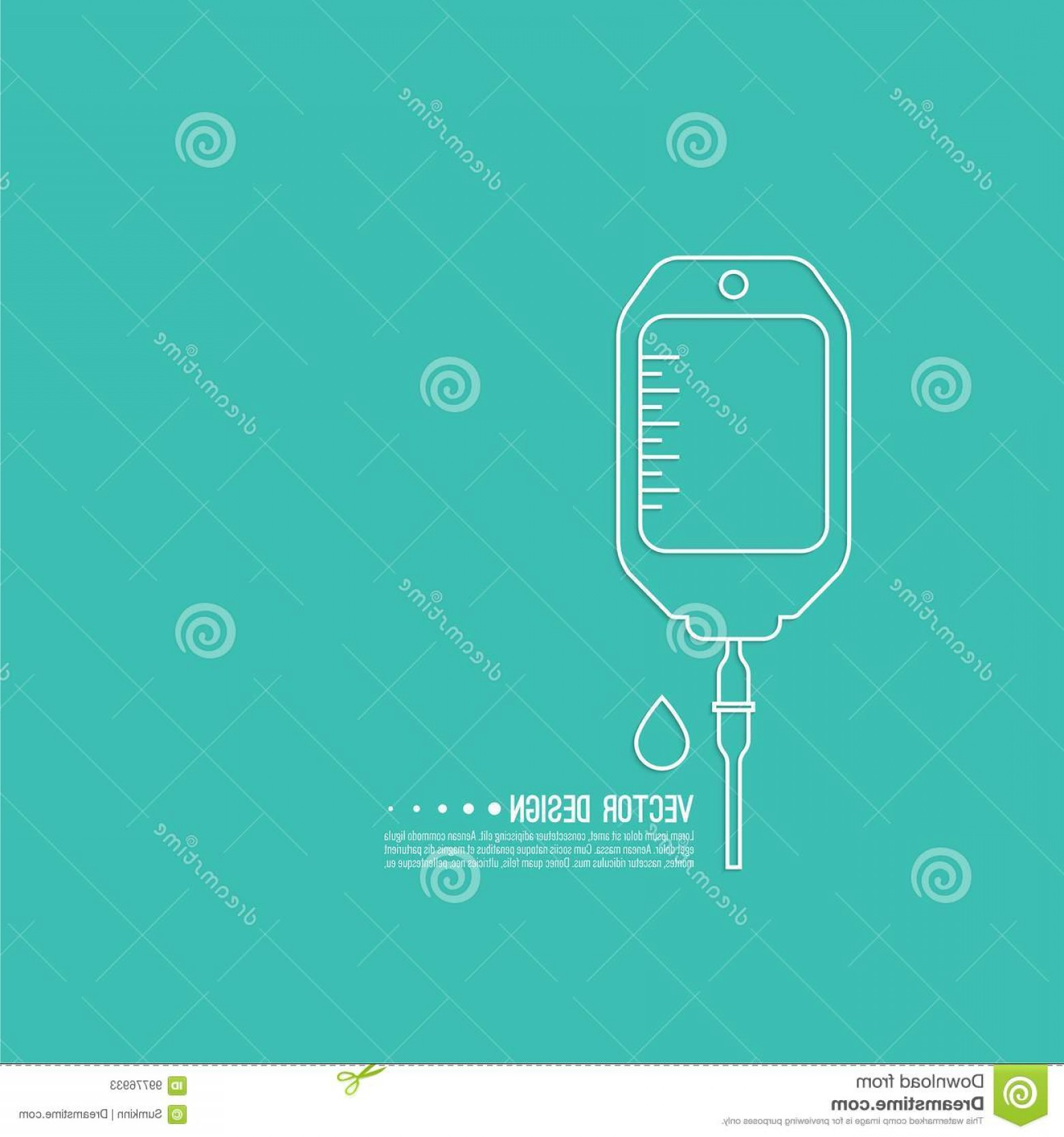 Vector IV: Vector Iv Bag Icon Saline Symbol Background Concept Treatment Therapy Chemotherapy Modern Design Outline Linear Image