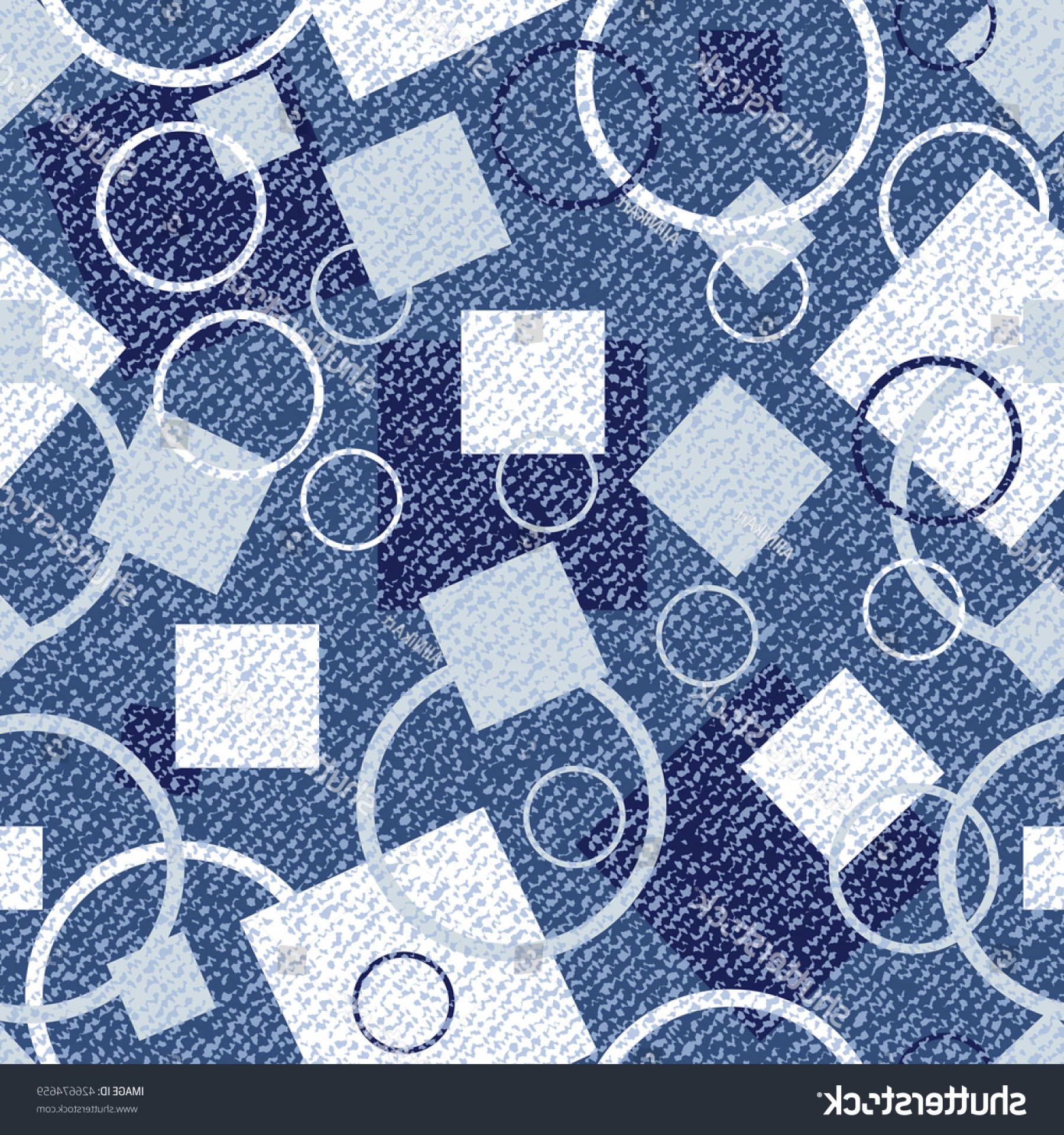 Denim And Pearls Vector: Vector Jeans Background Circles Squares Denim