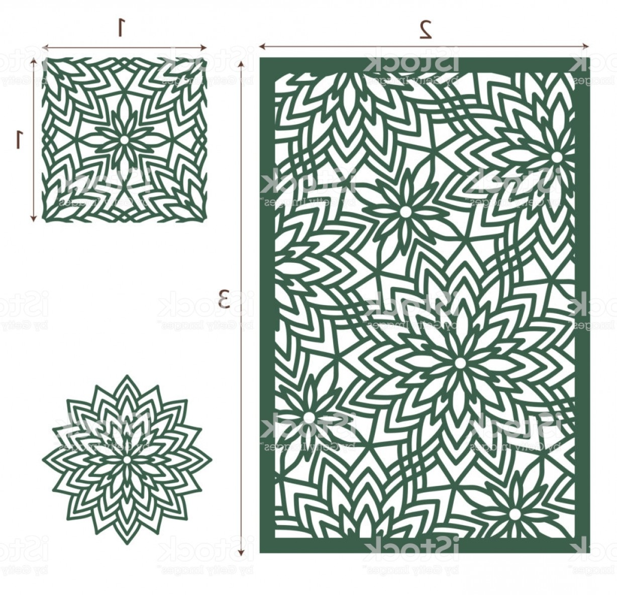 Champagne Vinyl Plotter Vector Art: Vector Laser Cut Panel The Seamless Pattern For Decorative Panel And Flower Template Gm