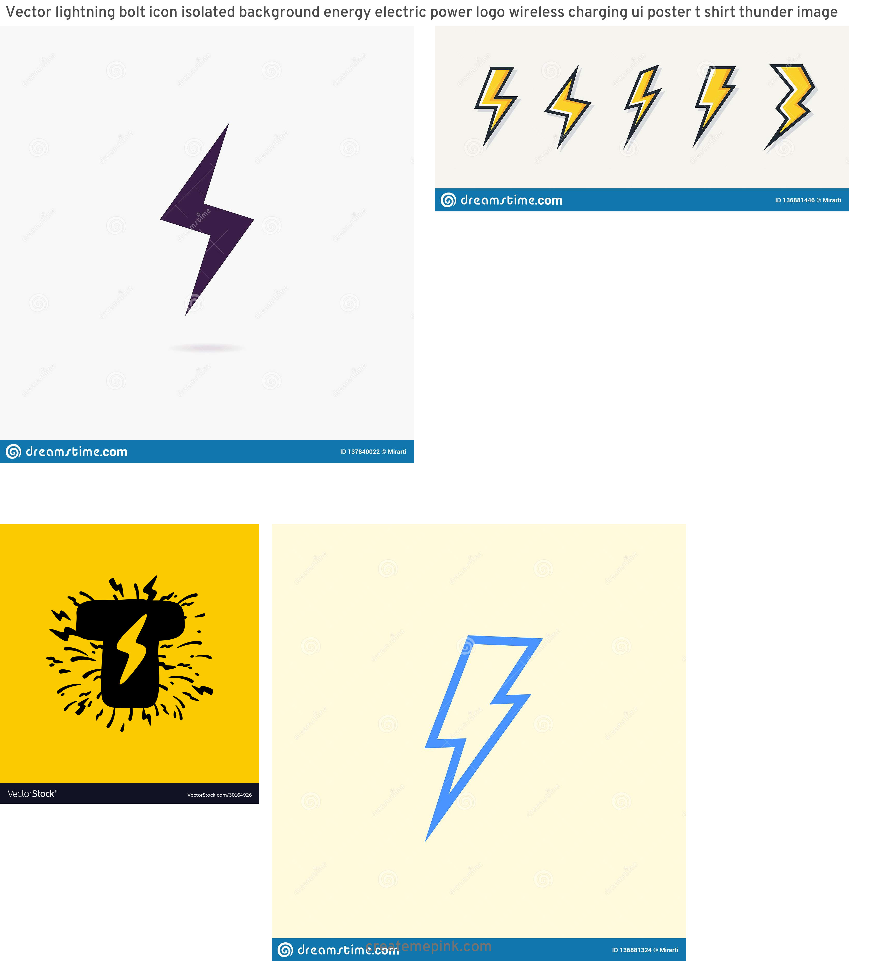 Lightning Vector T: Vector Lightning Bolt Icon Isolated Background Energy Electric Power Logo Wireless Charging Ui Poster T Shirt Thunder Image