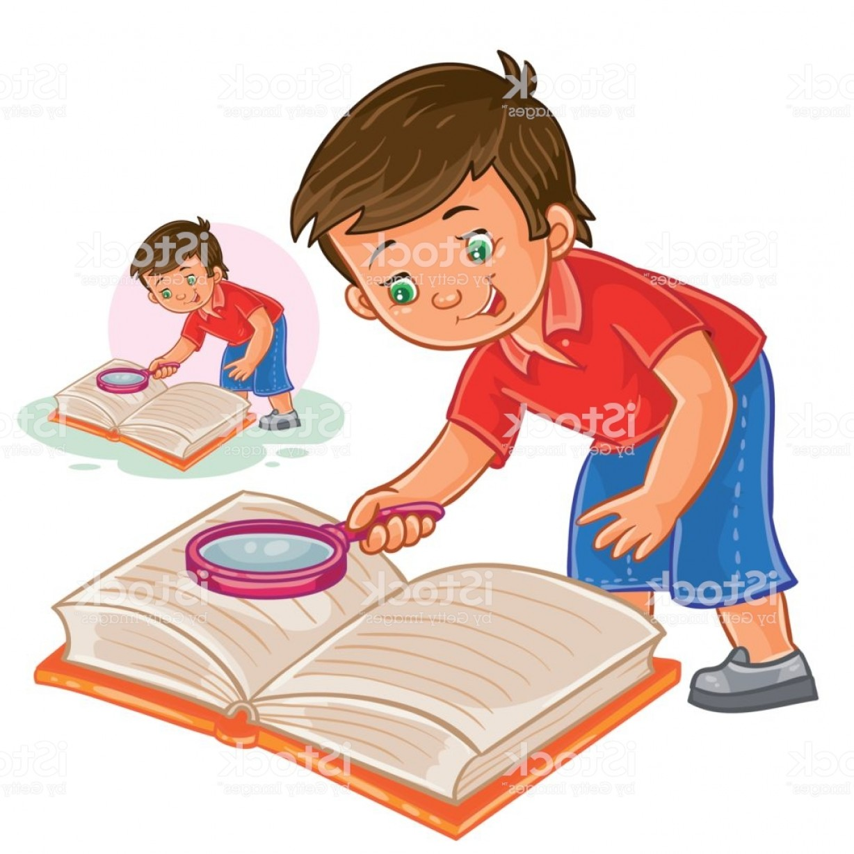 Reading Glasses For Men Vector: Vector Little Boy Reading A Book With A Magnifying Glass Gm