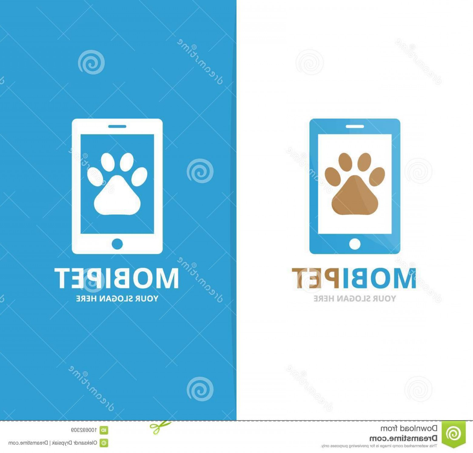 Small Email Icon Vector: Vector Logo Icon Design Element Companies Paw Phone Combination Pet Mobile Symbol Unique Vet Device Logotype Template Image