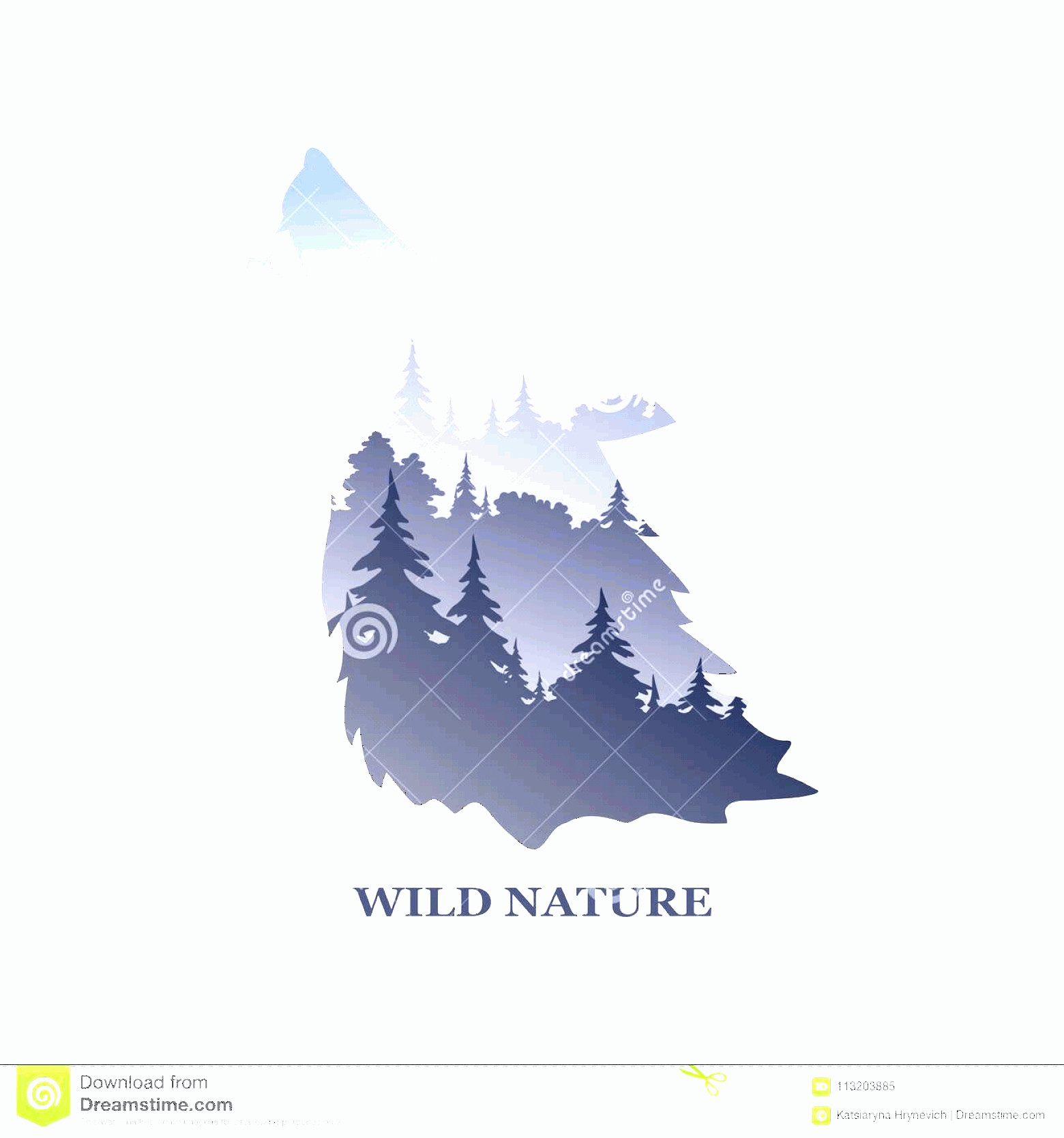 Wolf Vector Logo: Vector Logo Inscription Wildlife Nature Landscape Wild Wolf Illustration Image