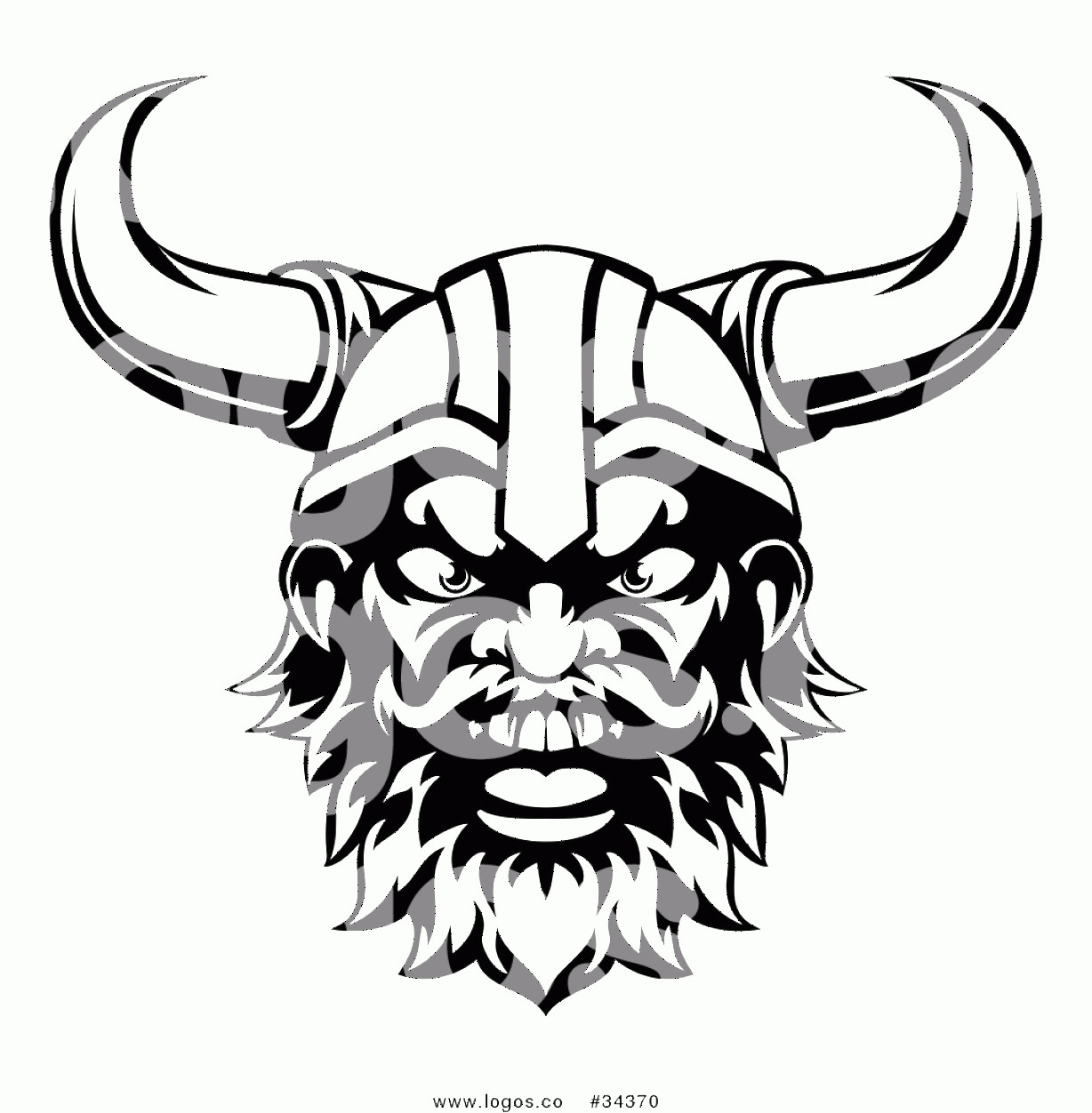 Viking Head Vector: Vector Logo Of A Black And White Cartoon Yelling Male Viking Warrior Face By Atstockillustration