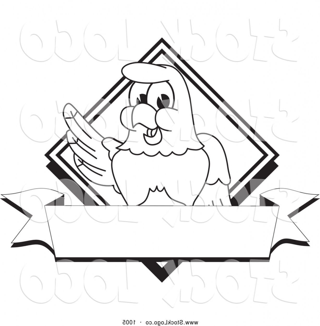 Eagle Banner Vector: Vector Logo Of A Coloring Page Of A Cute Bald Eagle Hawk Or Falcon Diamond Banner Logo Outline By Toonsbiz