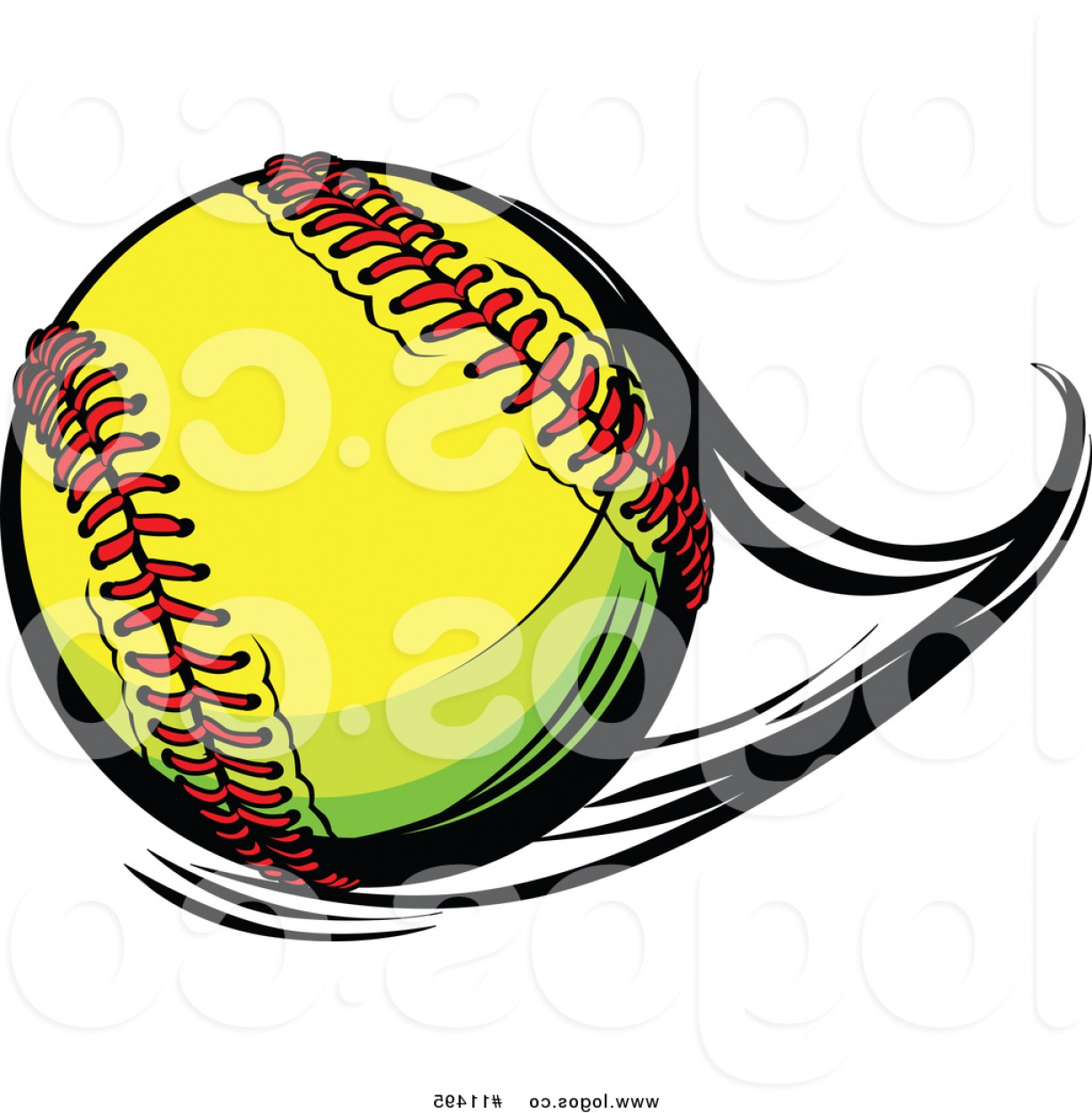 Softball Laces Vector Art B W: Vector Logo Of A Flast Flying Softball By Chromaco