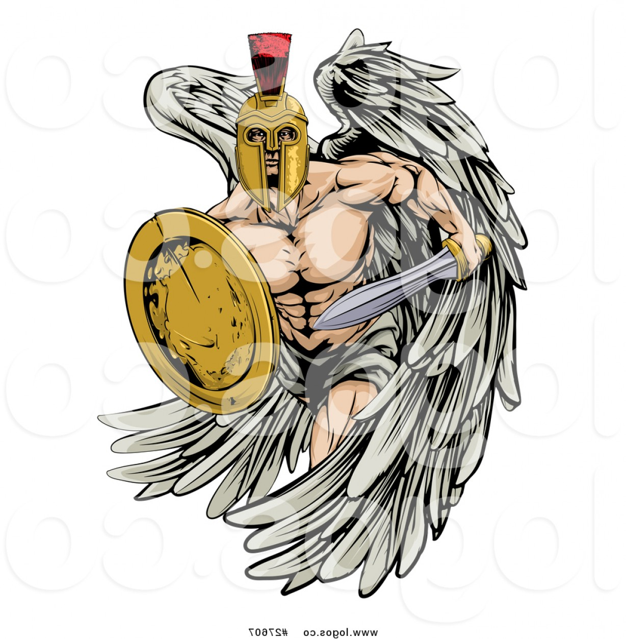 Guardian Vector Logo: Vector Logo Of A Spartan Trojan Warrior Guardian Angel With A Sword And Shield By Atstockillustration