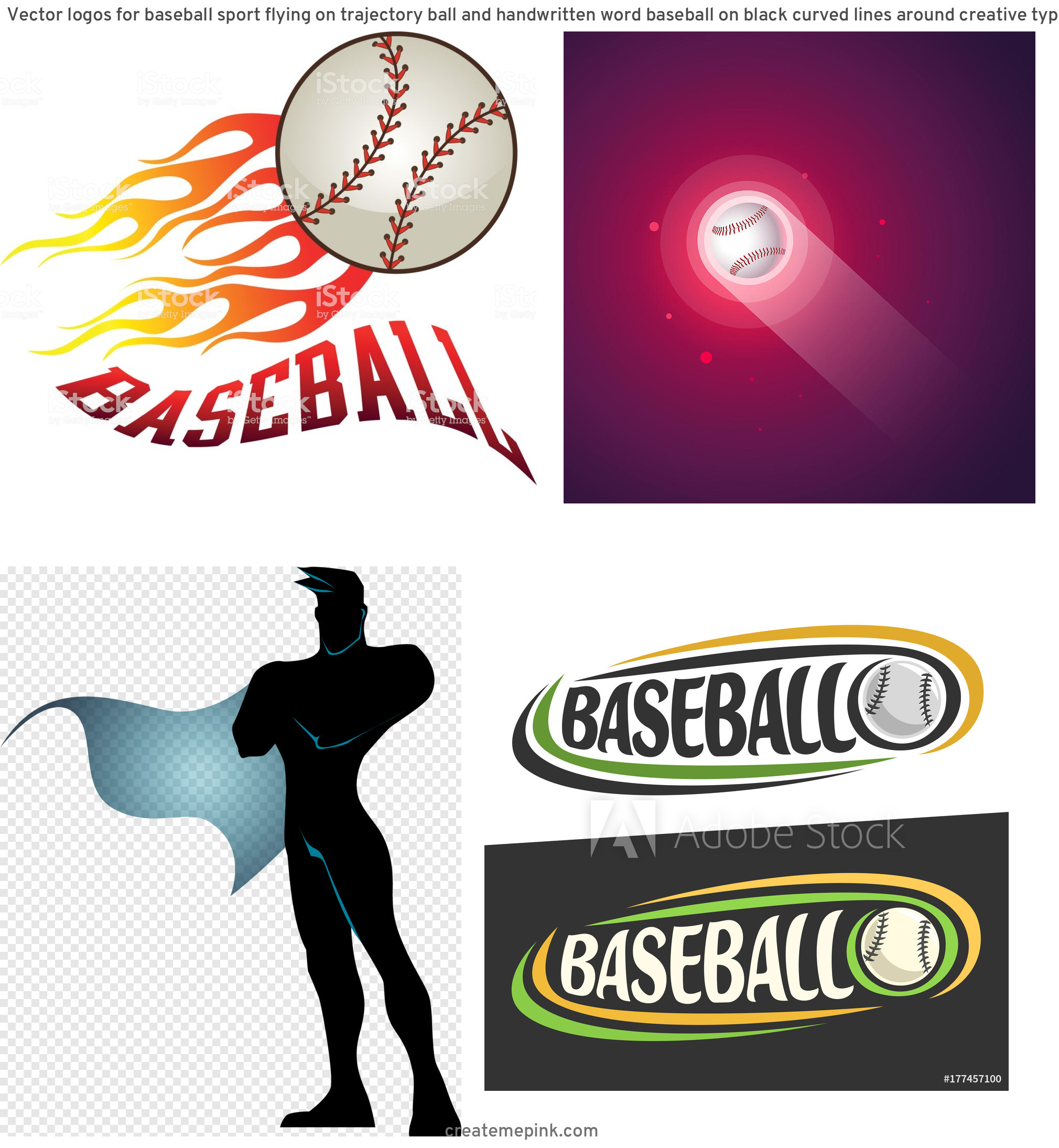Flying Baseball Vector: Vector Logos For Baseball Sport Flying On Trajectory Ball And Handwritten Word Baseball On Black Curved Lines Around Creative Typography For Text Baseball On White Background Sports Decoration F