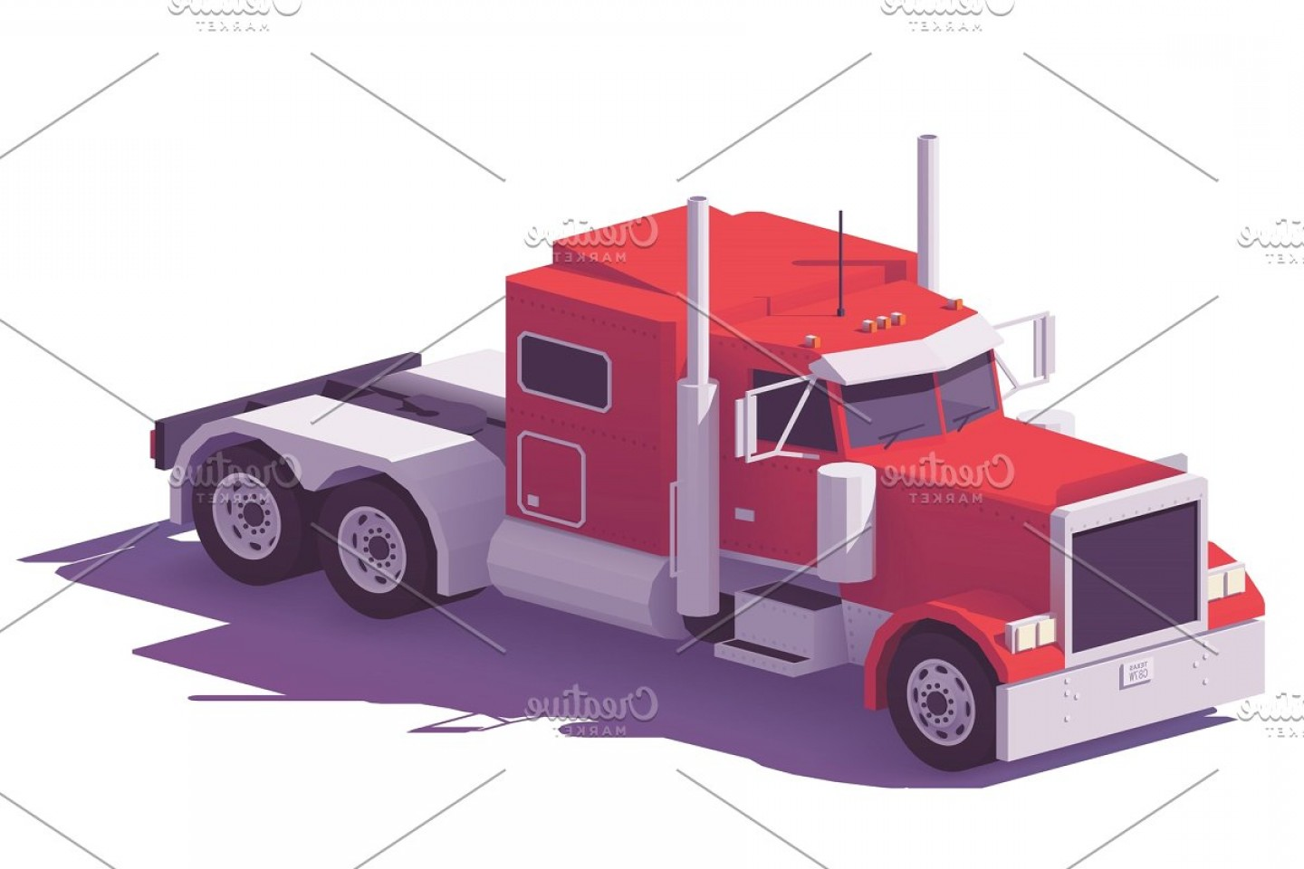 Vector Truck And Trailer Hauling: Vector Low Poly American Classic Truck