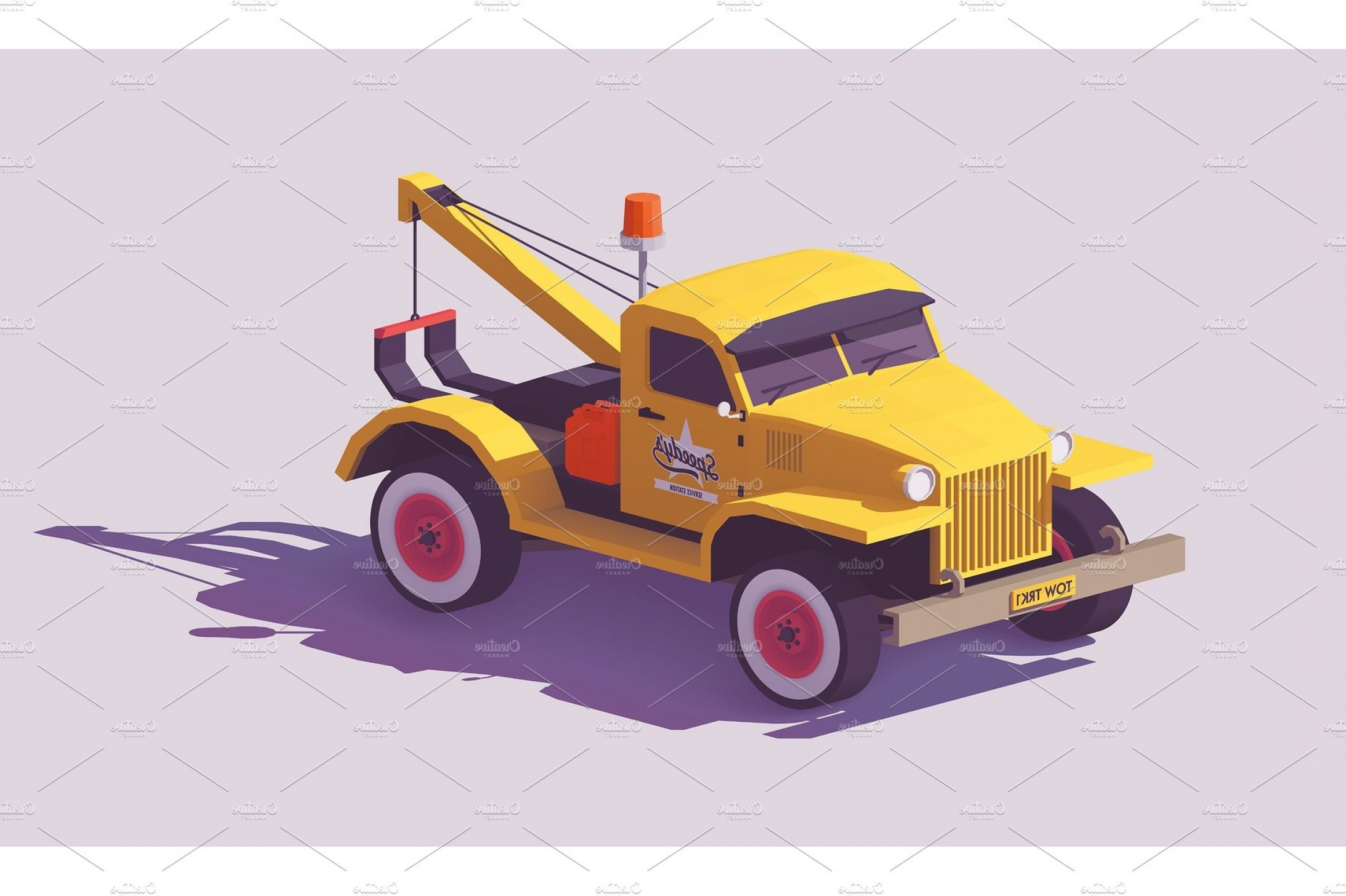 Towing Vector Clip Art: Vector Low Poly Tow Truck