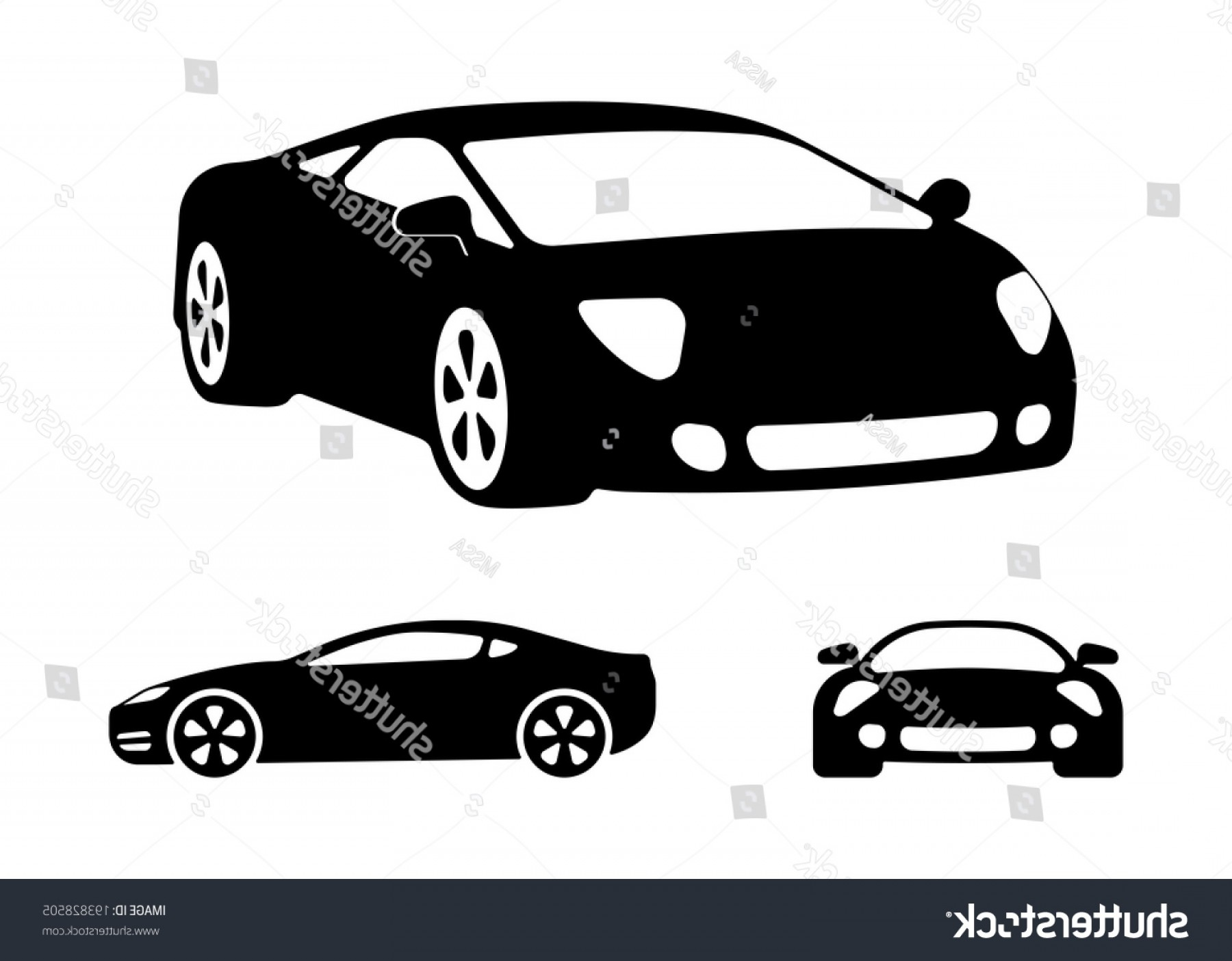 Car Silhouette Vector Free: Vector Luxury Car Silhouettes Frontal Angled