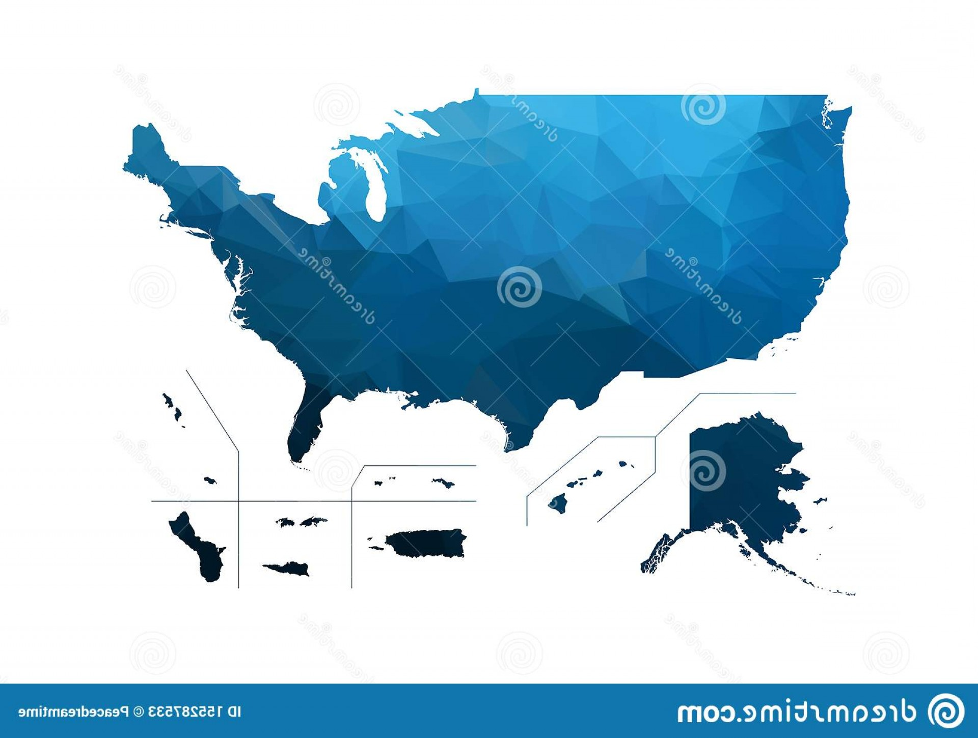 BG Vector Map: Vector Map Blue Geometric Rumpled Triangular Low Poly Afghanistan Contour Shape Isolated White Background Usa Territories Image