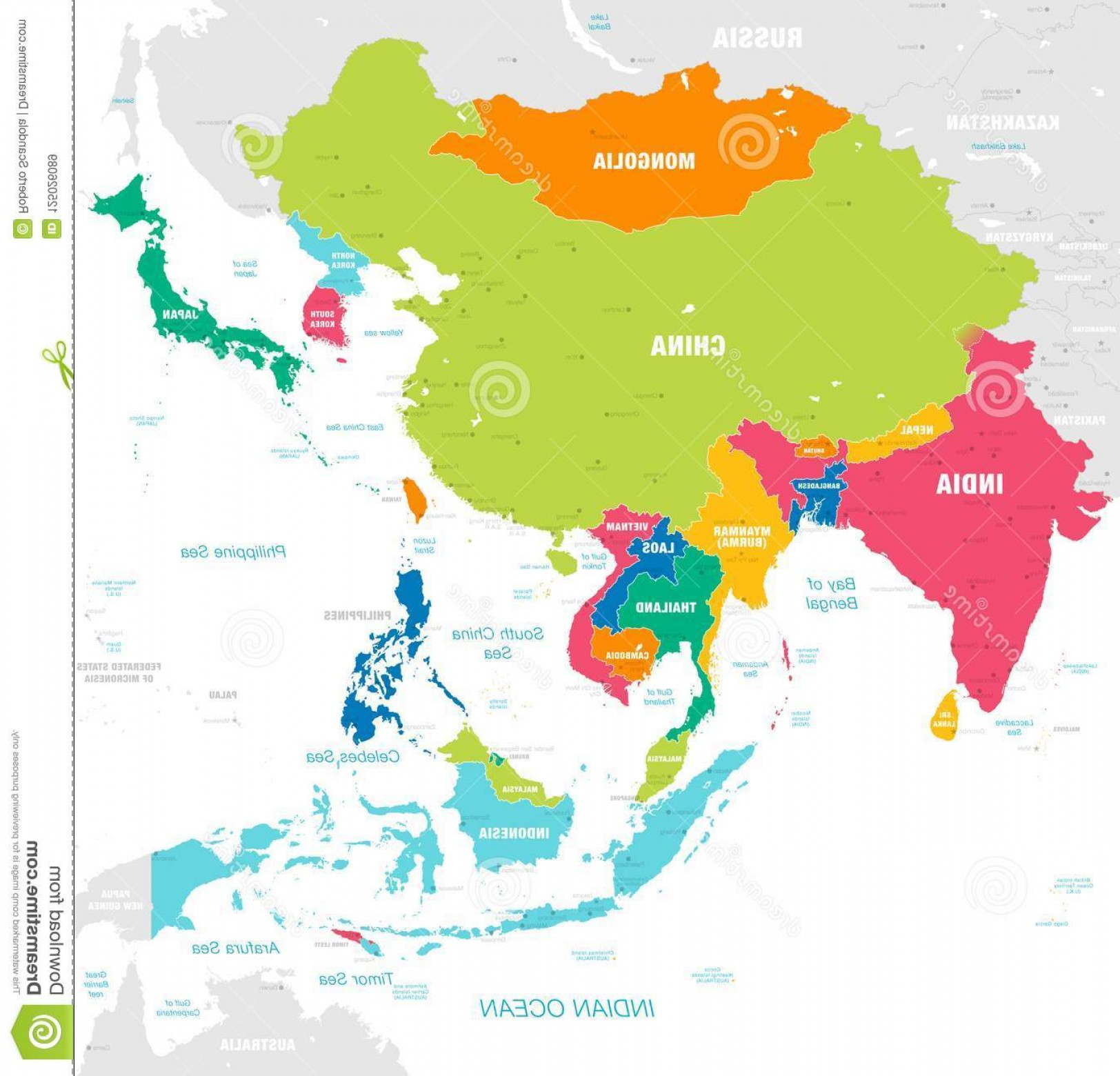 Asia Continent Map Vector: Vector Map East Asia Continent Countries Capitals Main Cities Seas Islands Names Strong Brilliant Colors Palette Image